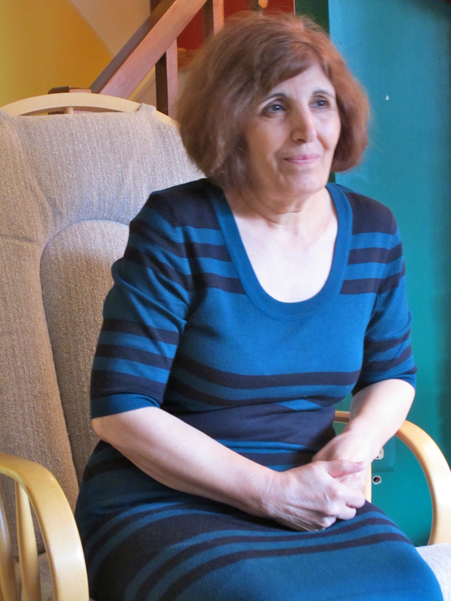 Zahrieh Alsouso, a cognitive psychologist, still counsels some patients via Skype: 'I become strong when I talk to them…. But I myself am not very settled.'