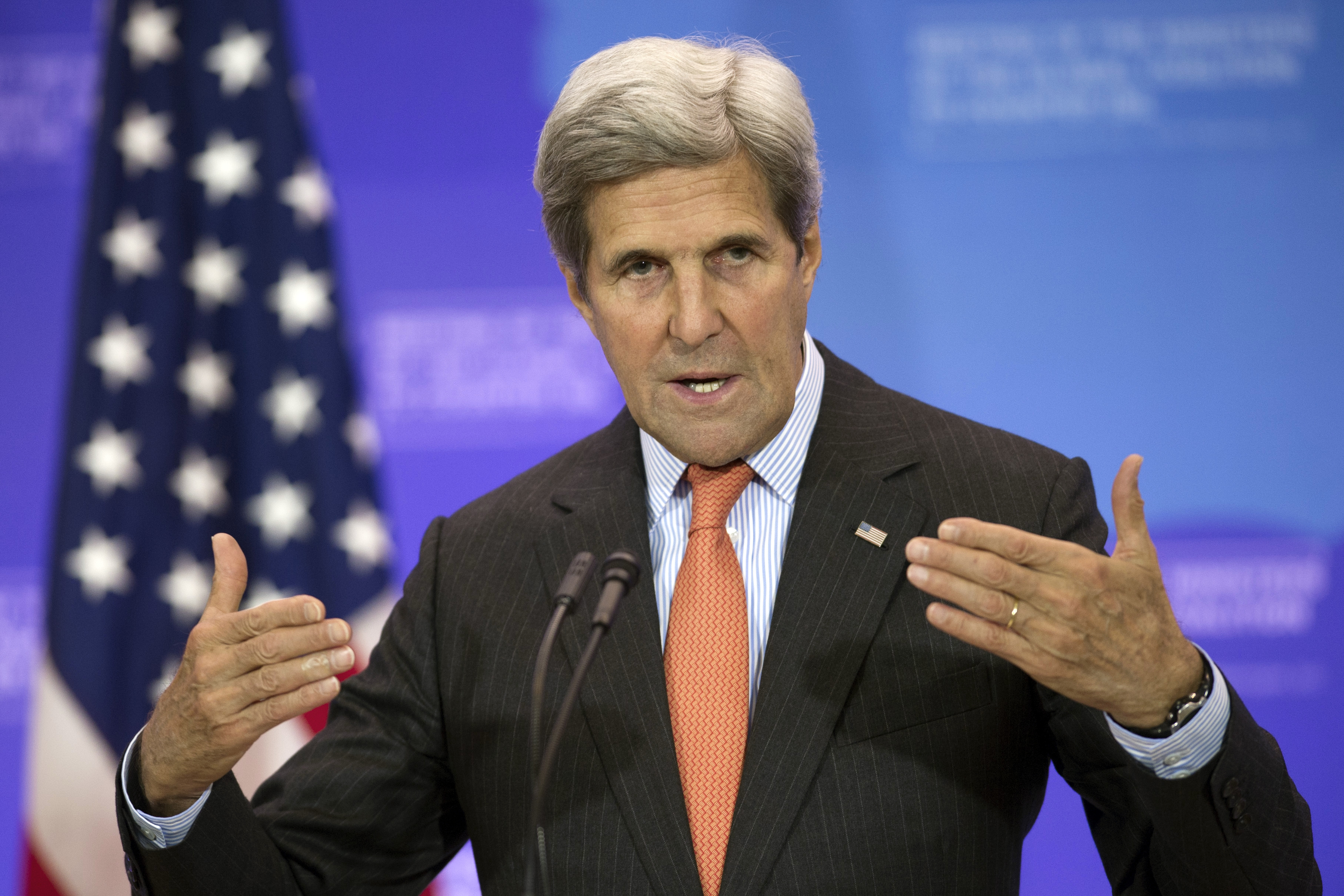 """Secretary of State John Kerry speaks at the Meeting of the Ministers of the Global Coalition to Counter ISIL at the State Department in Washington, July 21, 2016. Kerry is """"working very hard"""" to keep the cease-fire in Yemen in place."""