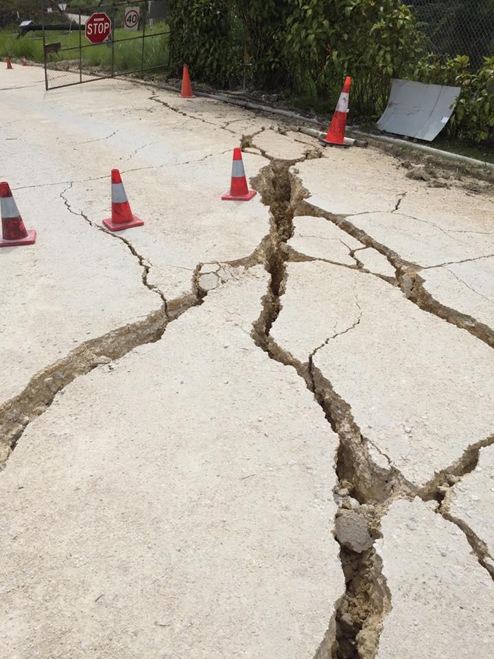 Cracks left by a powerful 7.5 magnitude earthquake are seen in Hela, Papua New Guinea, Feb. 26, 2018, in this picture obtained from social media.