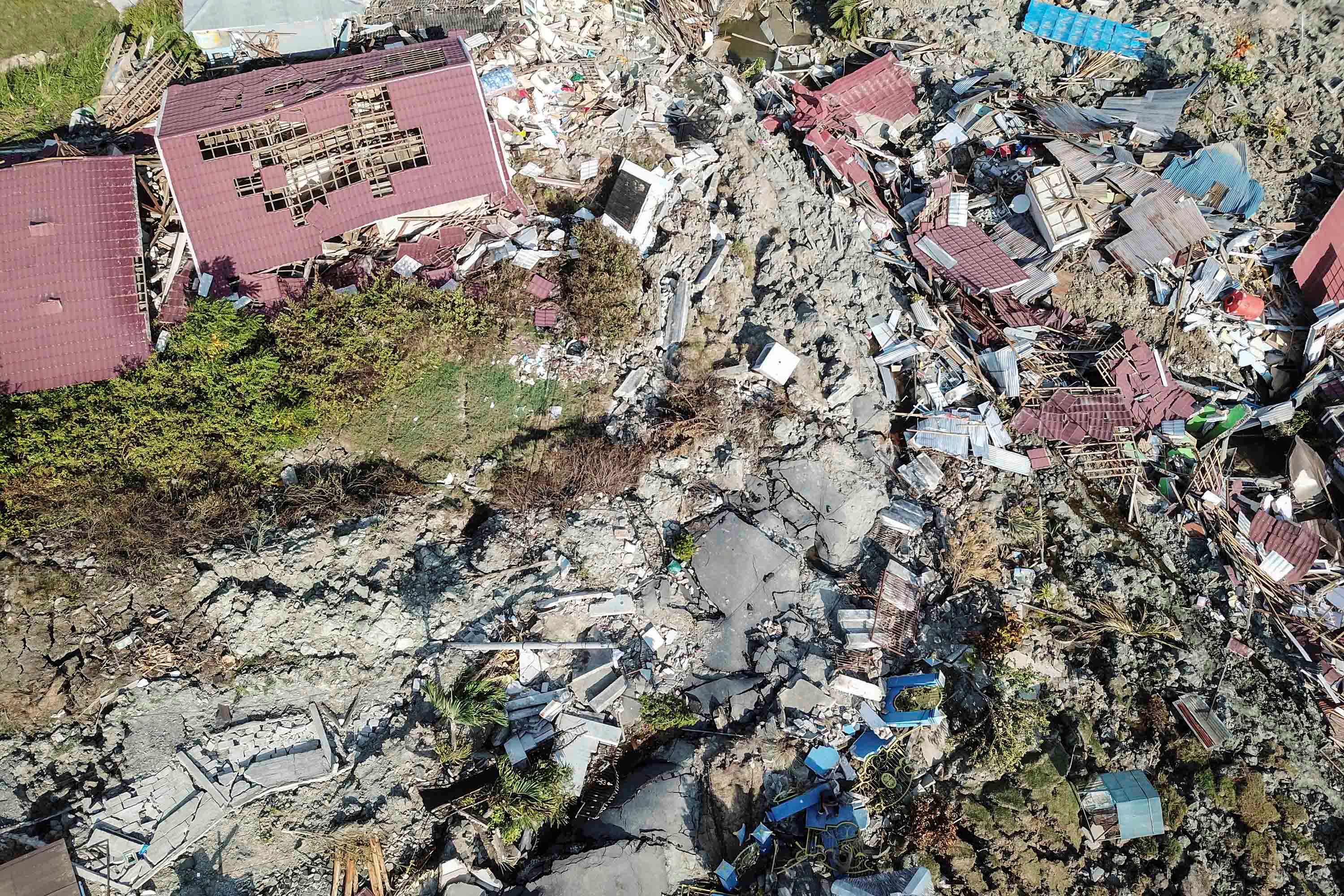 An aerial view of Petobo sub-district following an earthquake in Palu, Central Sulawesi, Indonesia, Oct. 2, 2018.
