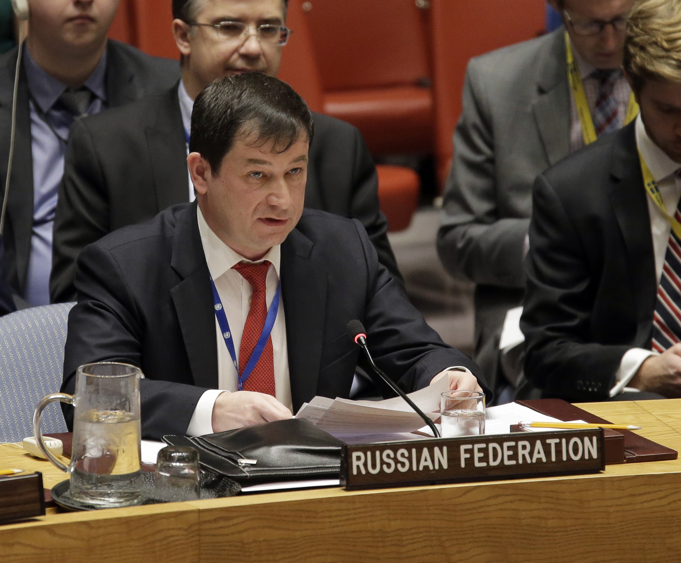 Russian Deputy Ambassador to the United Nations Dmitry Polyanskiy speaks during a U.N. Security Council meeting at United Nations headquarters, Nov. 26, 2018.
