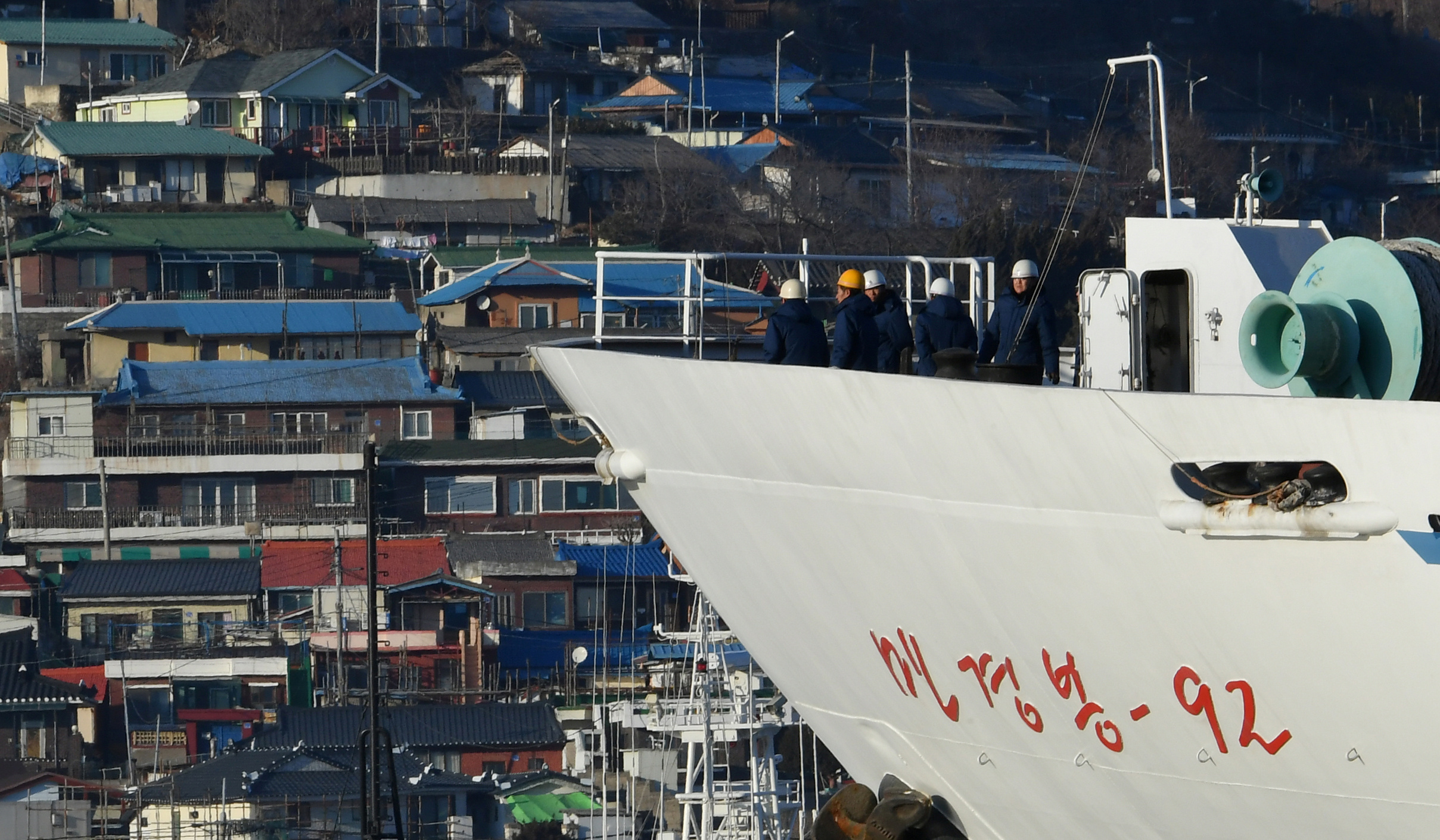 North Korean ship Mangyongbong-92 carrying the Samjiyon art troupe arrives at Mukjo port in Donghae, South Korea, Feb. 6, 2018
