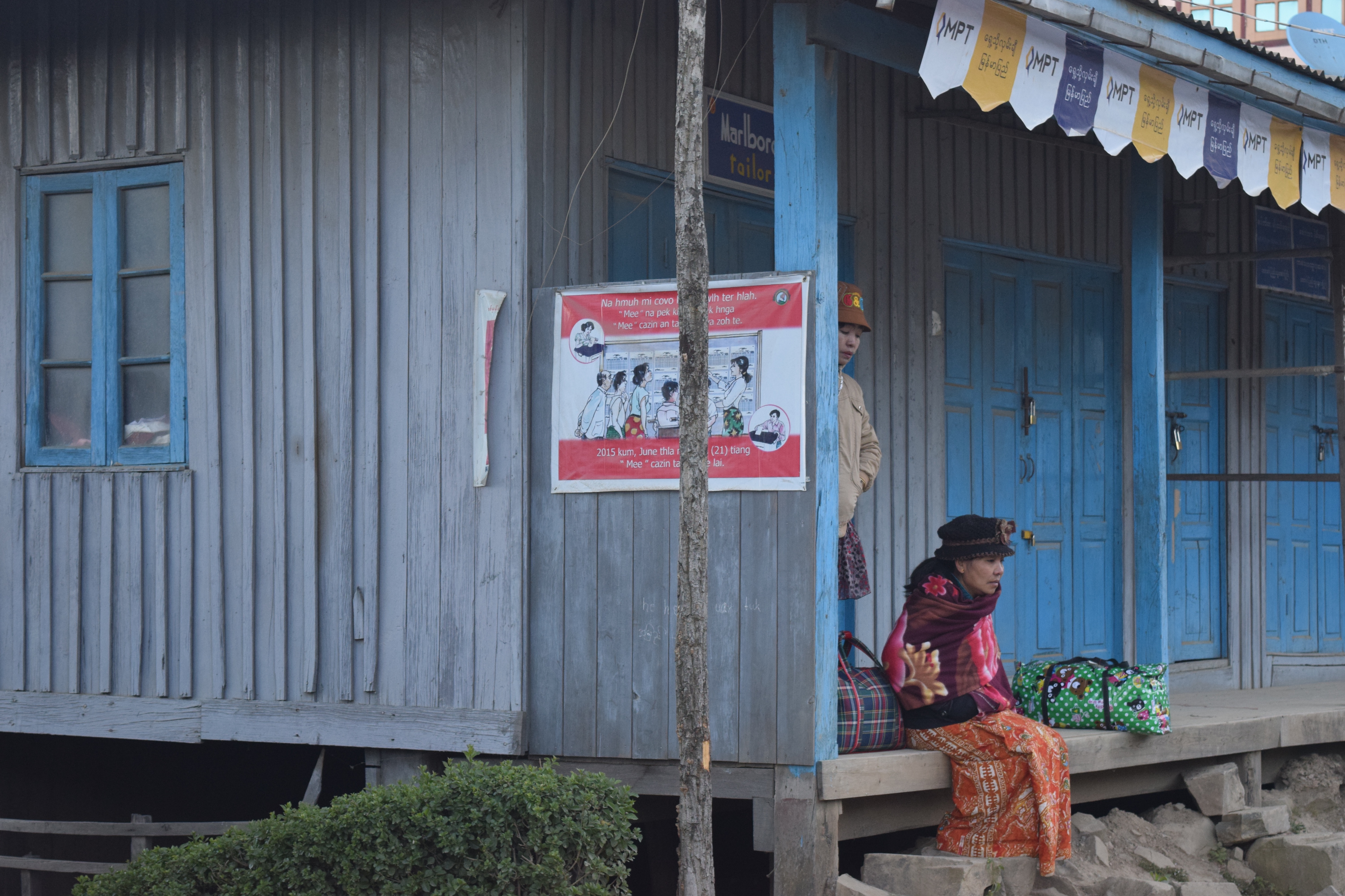 Voter education posters were translated in local languages ahead of Myanmar's elections on November 8. (Photo: Daniel de Carteret for VOA)