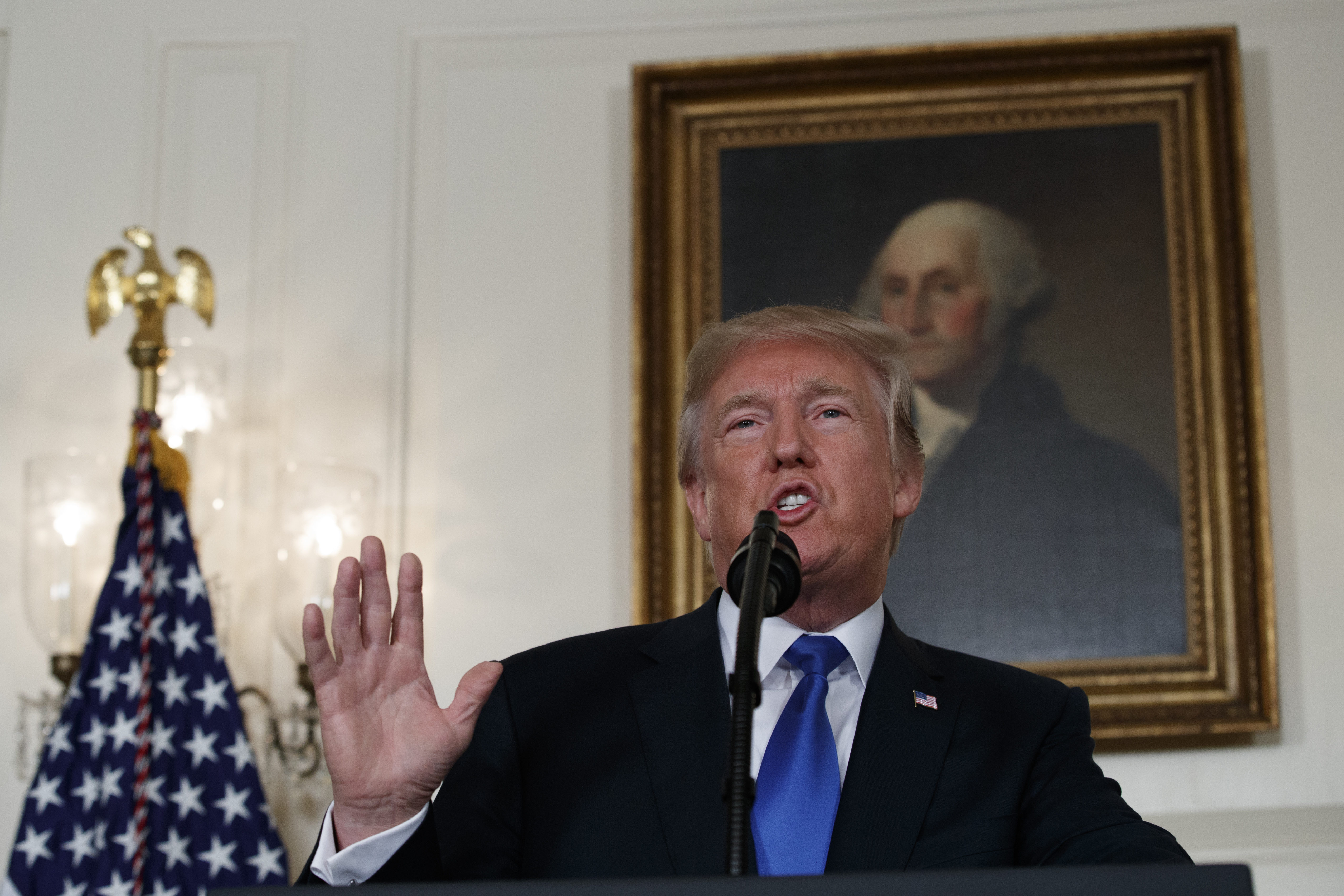 President Donald Trump makes a statement on Iran policy in the Diplomatic Reception Room of the White House, in Washington, Oct. 13, 2017.