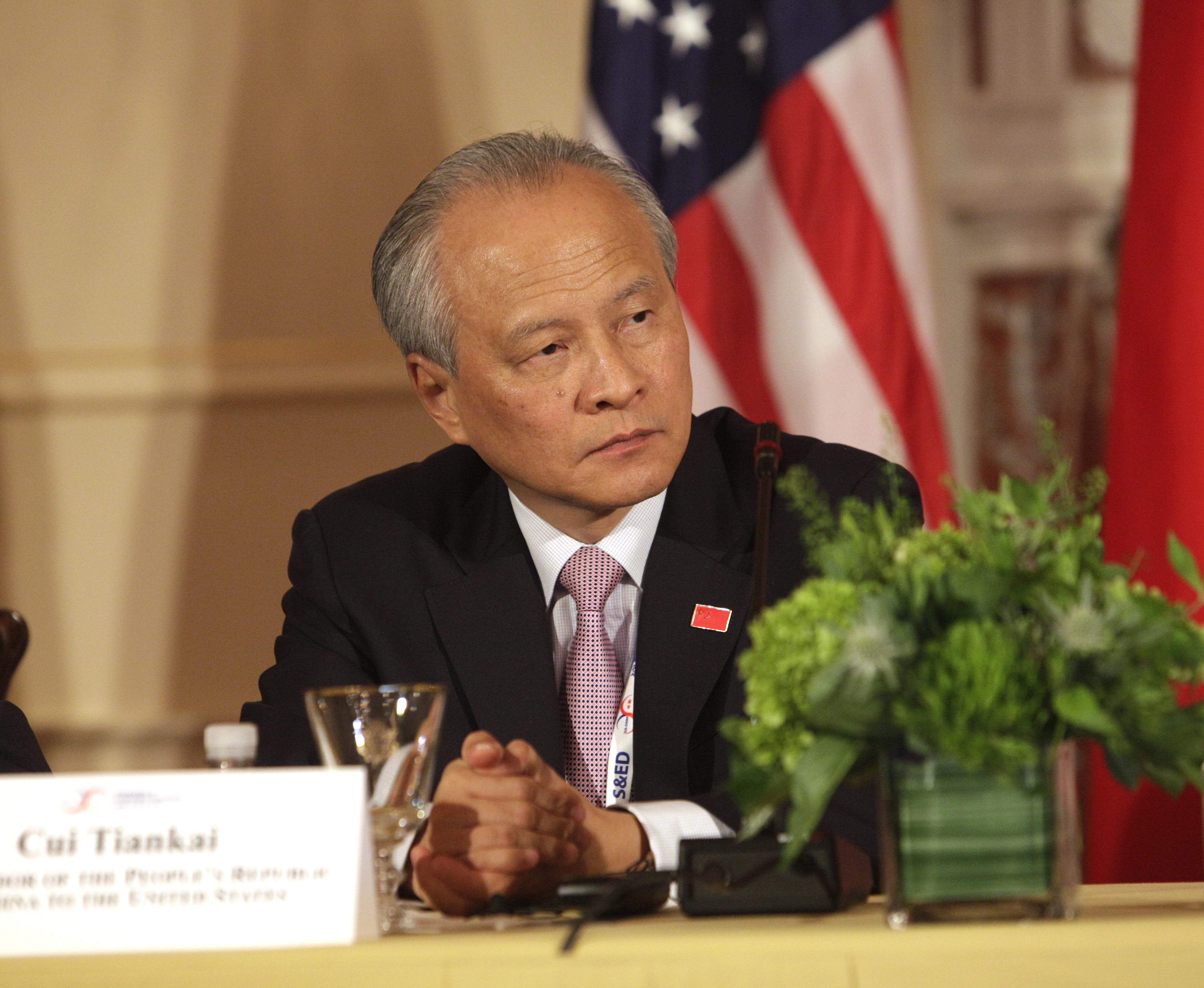 FILE - Cui Tiankai, China's Ambassador to the U.S. participates in the Plenary Session of the U.S.-China Consultation on People-to-People Exchange during the seventh U.S.-China Strategic and Economic Dialogue at the US State Department  in Washington