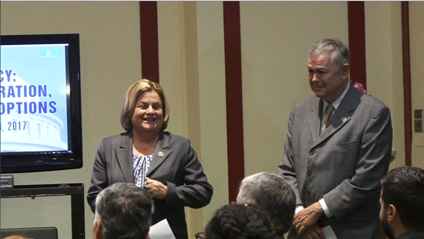 Republican House members Ileana Ros-Lehtinen and Dana Rohrabacher prepare to speak to the Organization of Iranian-American Communities (OIAC), an Iranian opposition group, at the Rayburn House Office Building in Washington, January 24, 2017,