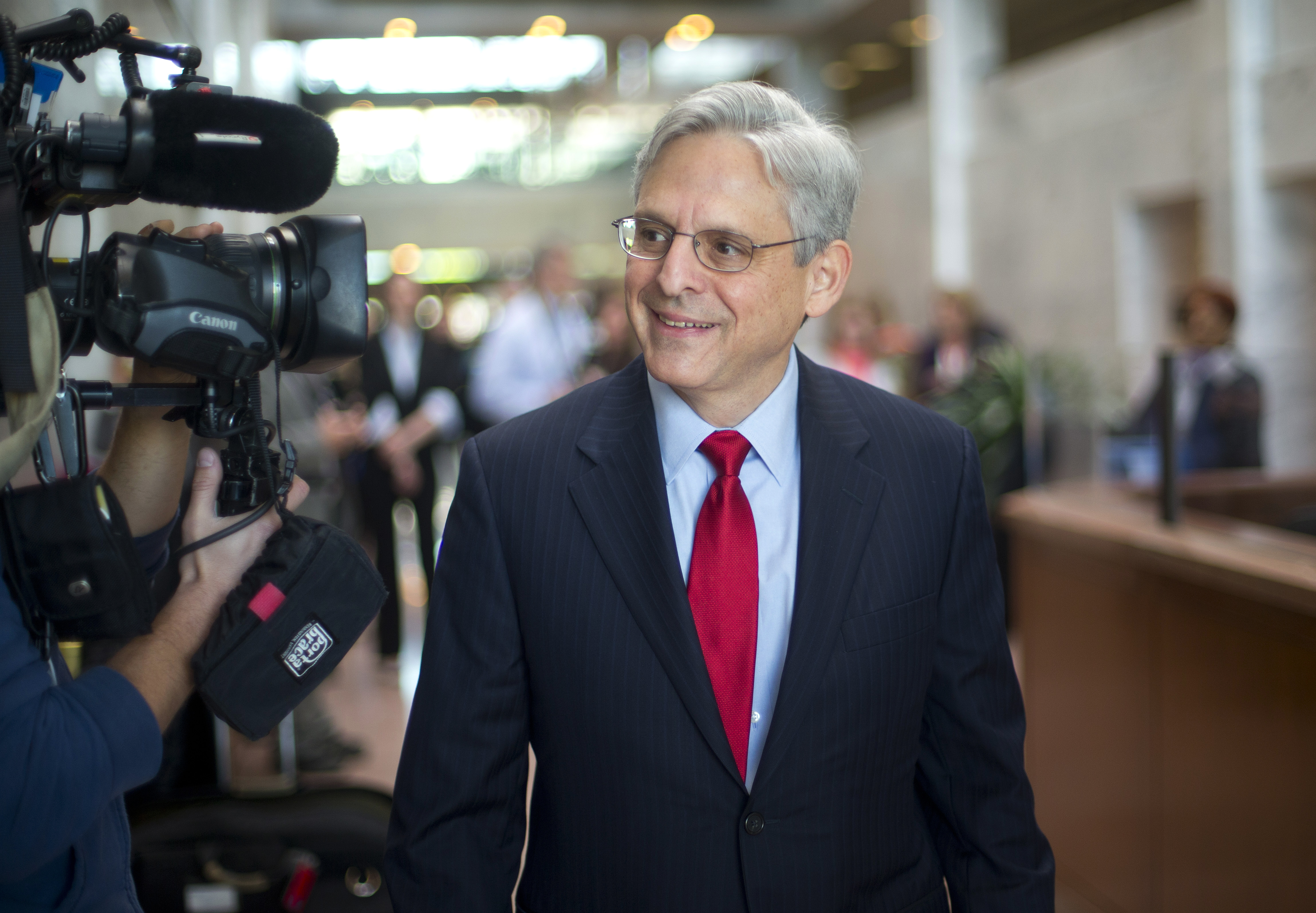 Judge Merrick Garland, President Barack Obama's choice to replace the late Justice Antonin Scalia on the Supreme Court arrives for a meeting with Sen. Angus King, I-Maine, on Capitol Hill in Washington, April 13, 2016. (AP Photo/Pablo Martinez Monsiv...