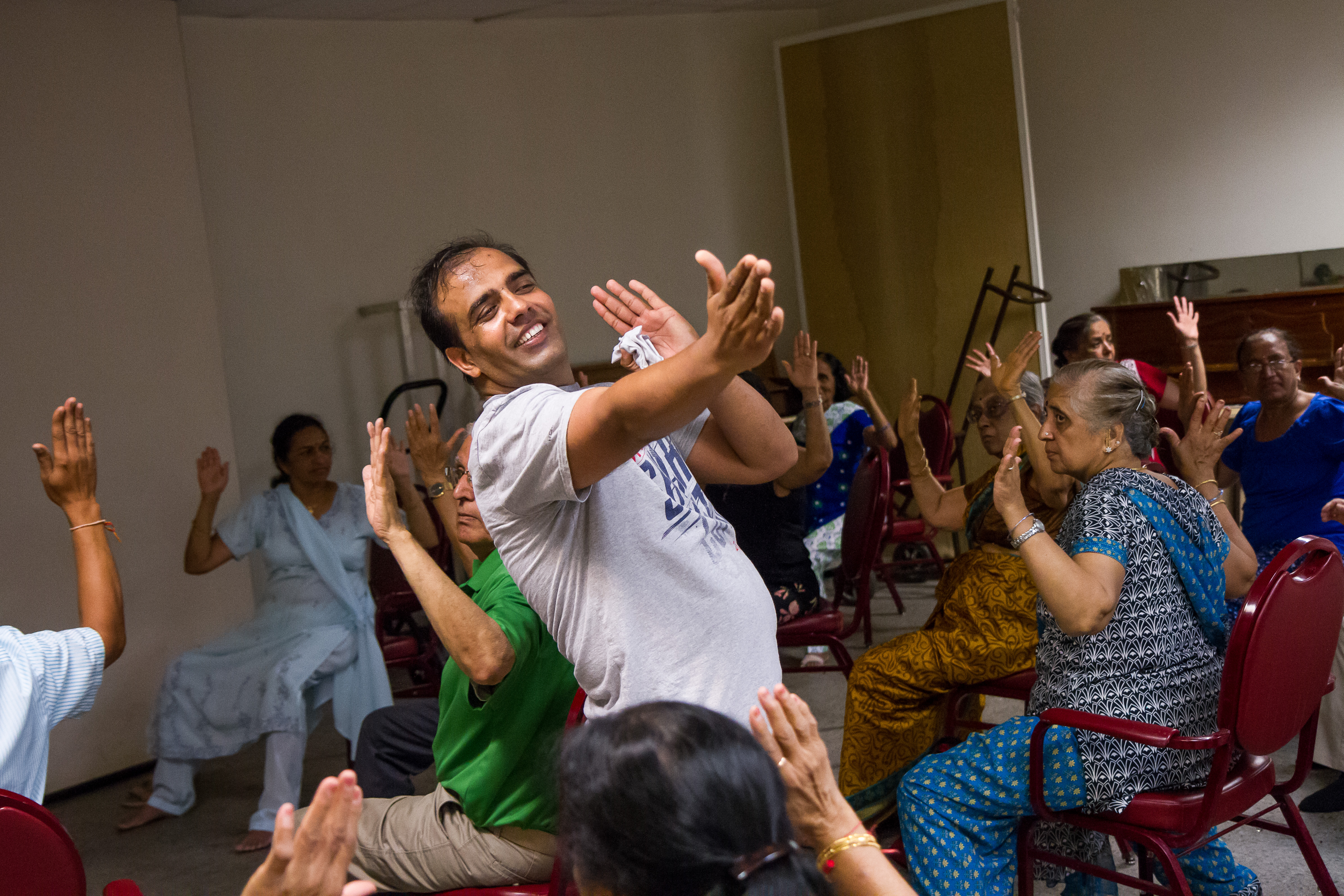 India Home seniors participate in an exercise class.