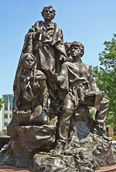 The Indian guide Sacagawea is depicted along with explorers Meriwether Lewis and William Clark on Eugene Daub's sculpture in Kansas City.