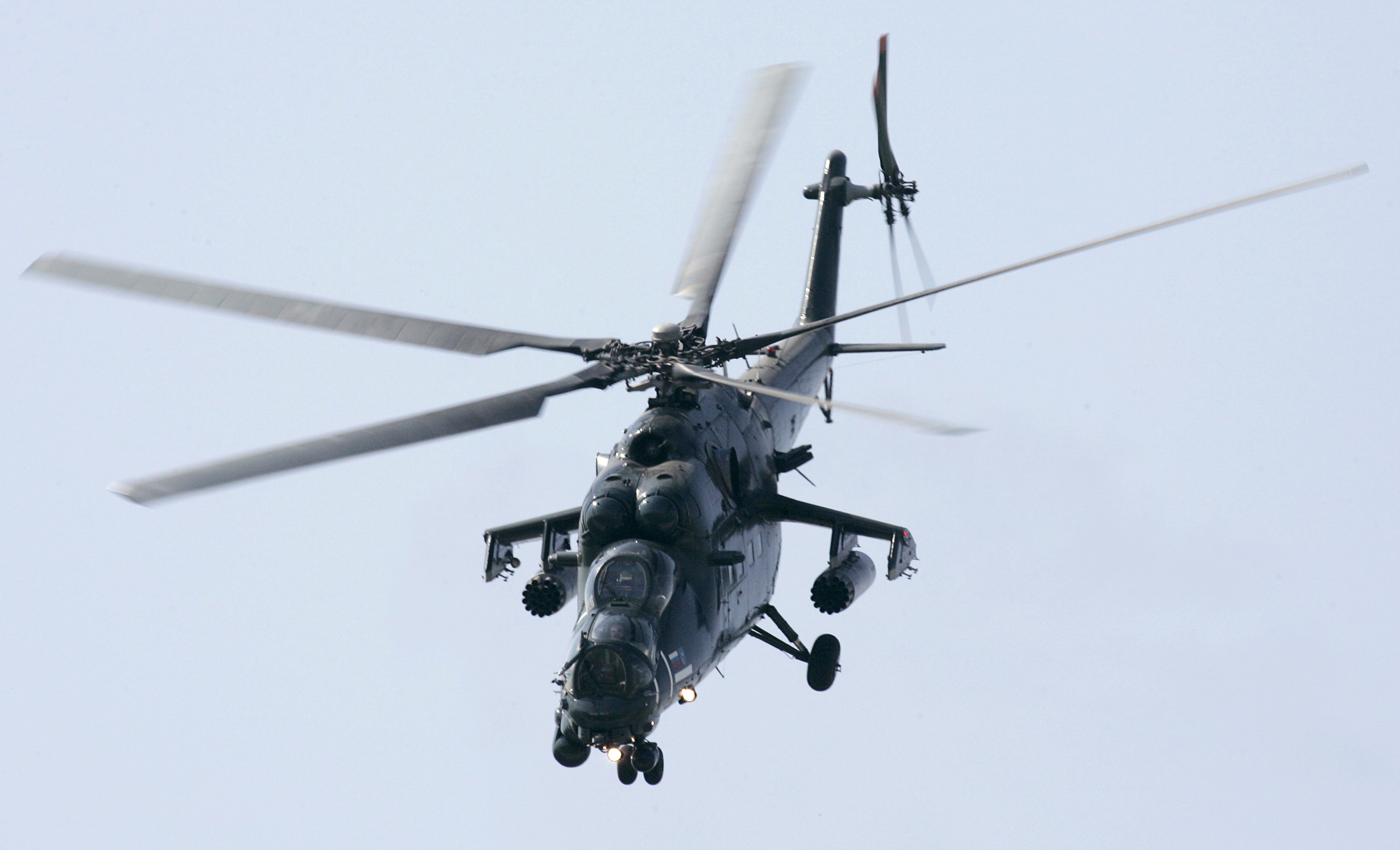 FILE - A Russian military MI-35M helicopter performs during an air show in Zhukovsky, outside Moscow, Aug. 23, 2007. Russia has sold the combat helicopters to Pakistan.