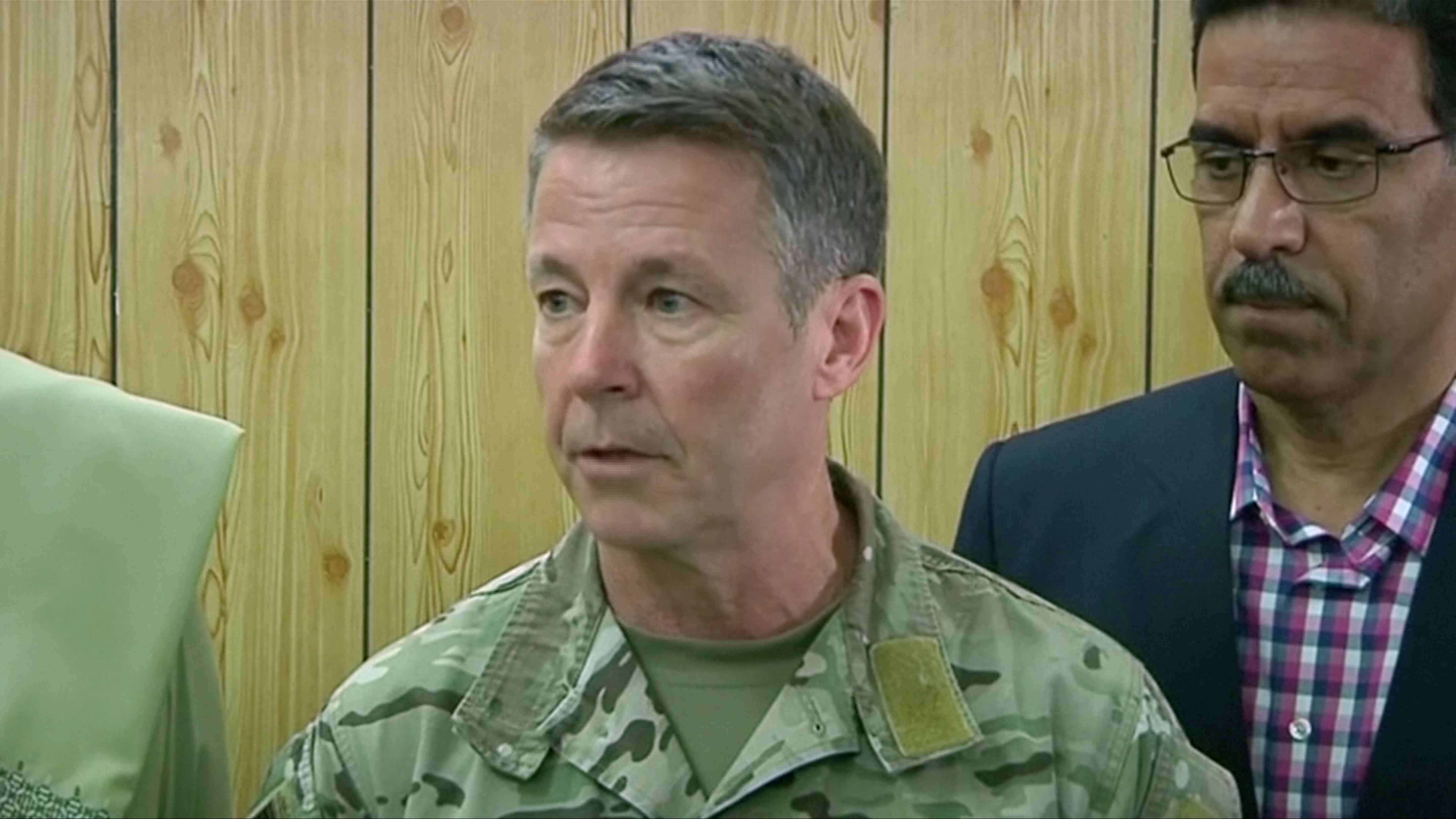 Commander of NATO forces in Afghanistan U.S. General Scott Miller attends a meeting in the Kandahar Governor's Compaund in Kandahar, Afghanistan, Oct. 18, 2018.