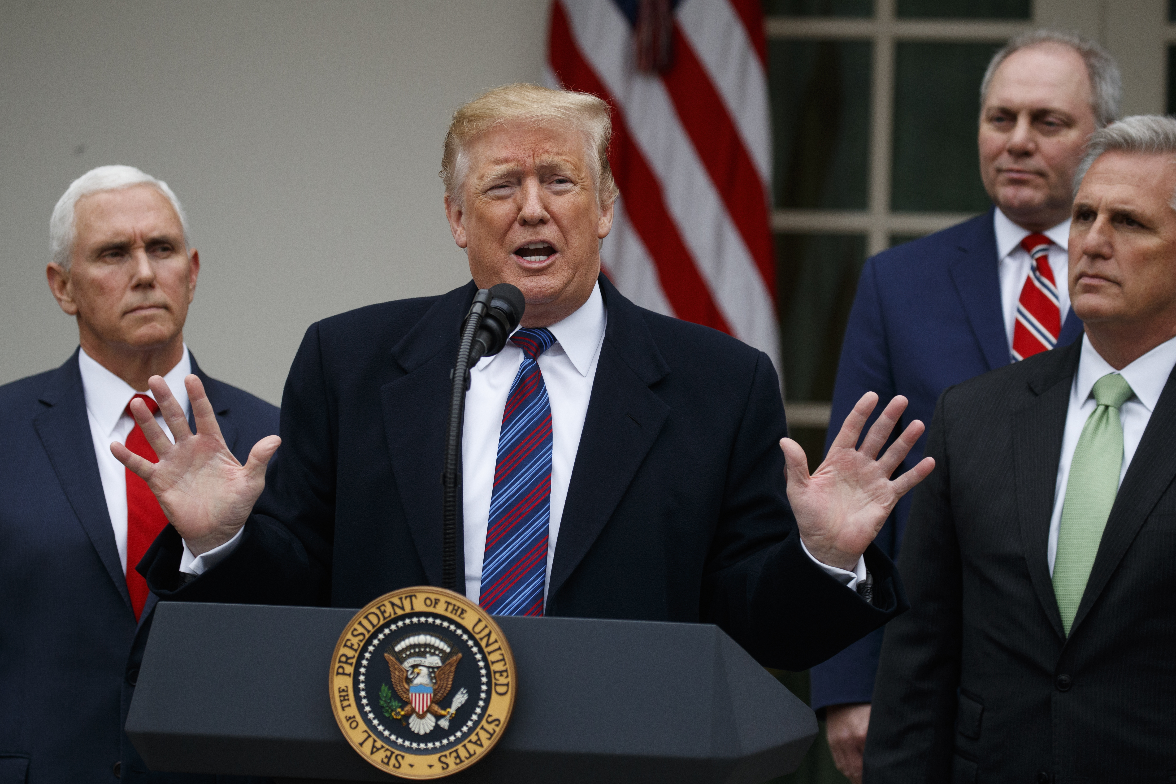 President Donald Trump speaks during a news conference in the Rose Garden of the White House after meeting with lawmakers about border security, Jan. 4, 2019.