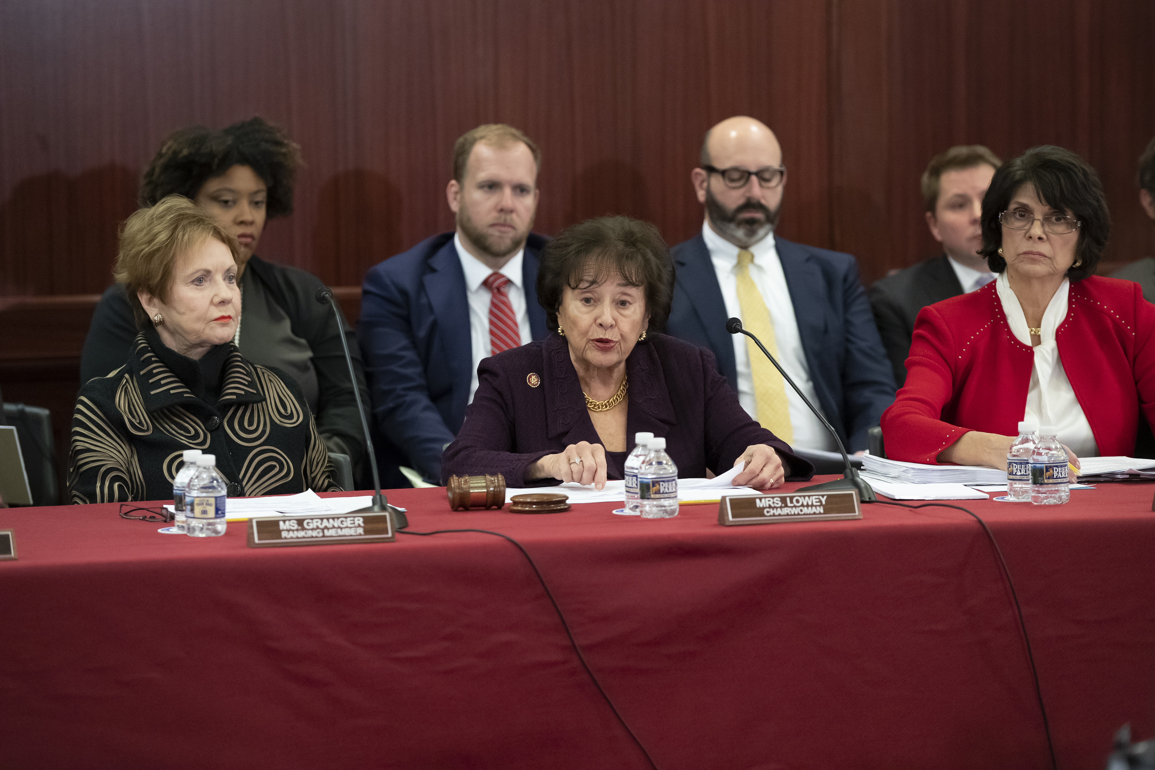 House Appropriations Committee Chair Nita Lowey, D-N.Y., center, flanked by Rep. Kay Granger, R-Texas, ranking member of the House Appropriations Committee, left, and Rep. Lucille Roybal-Allard, D-Calif., chair of the House Appropriations Committee's...