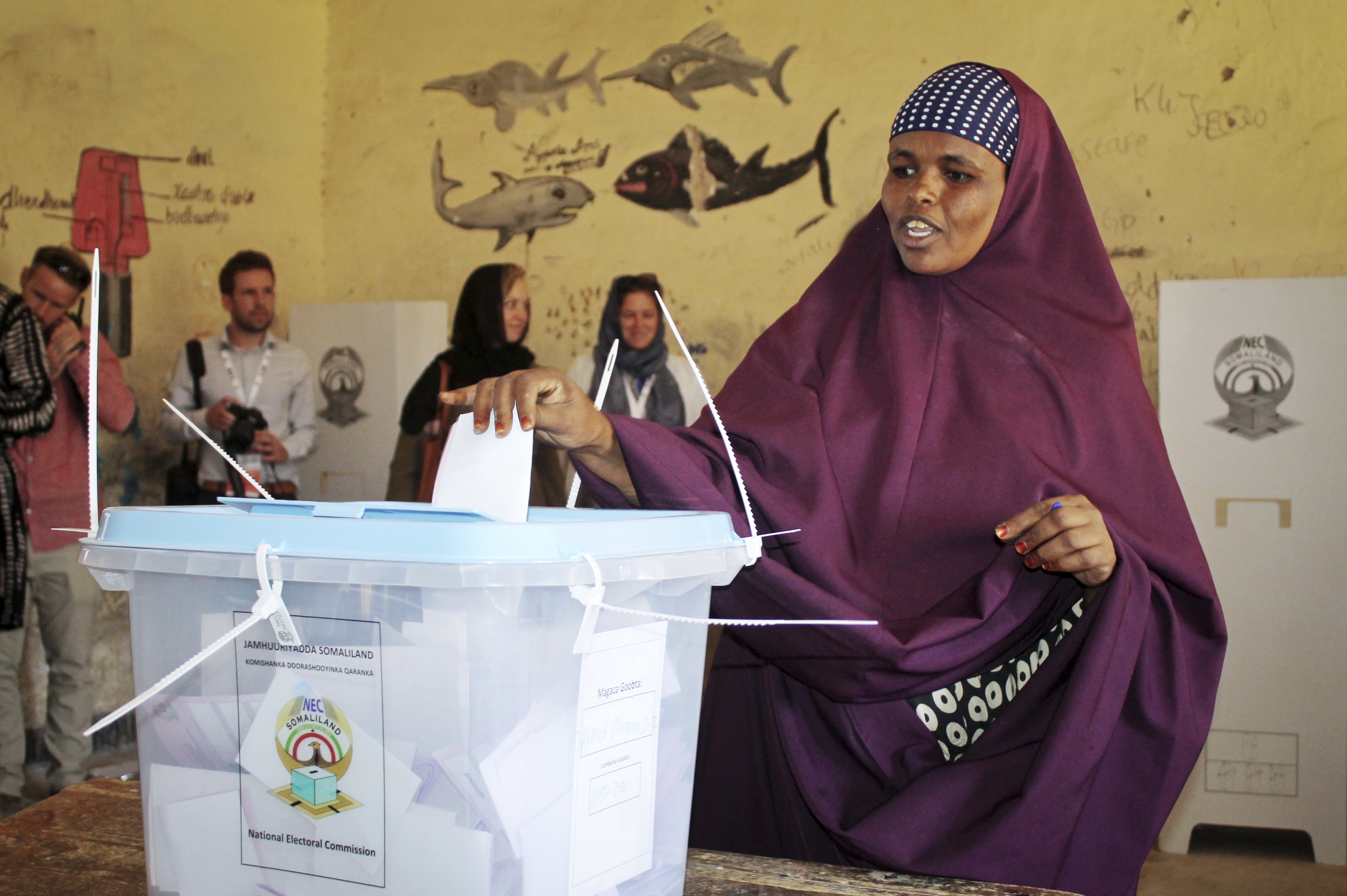 A woman casts her vote in the presidential election in Hargeisa, in the semi-autonomous region of Somaliland, Nov. 13, 2017.