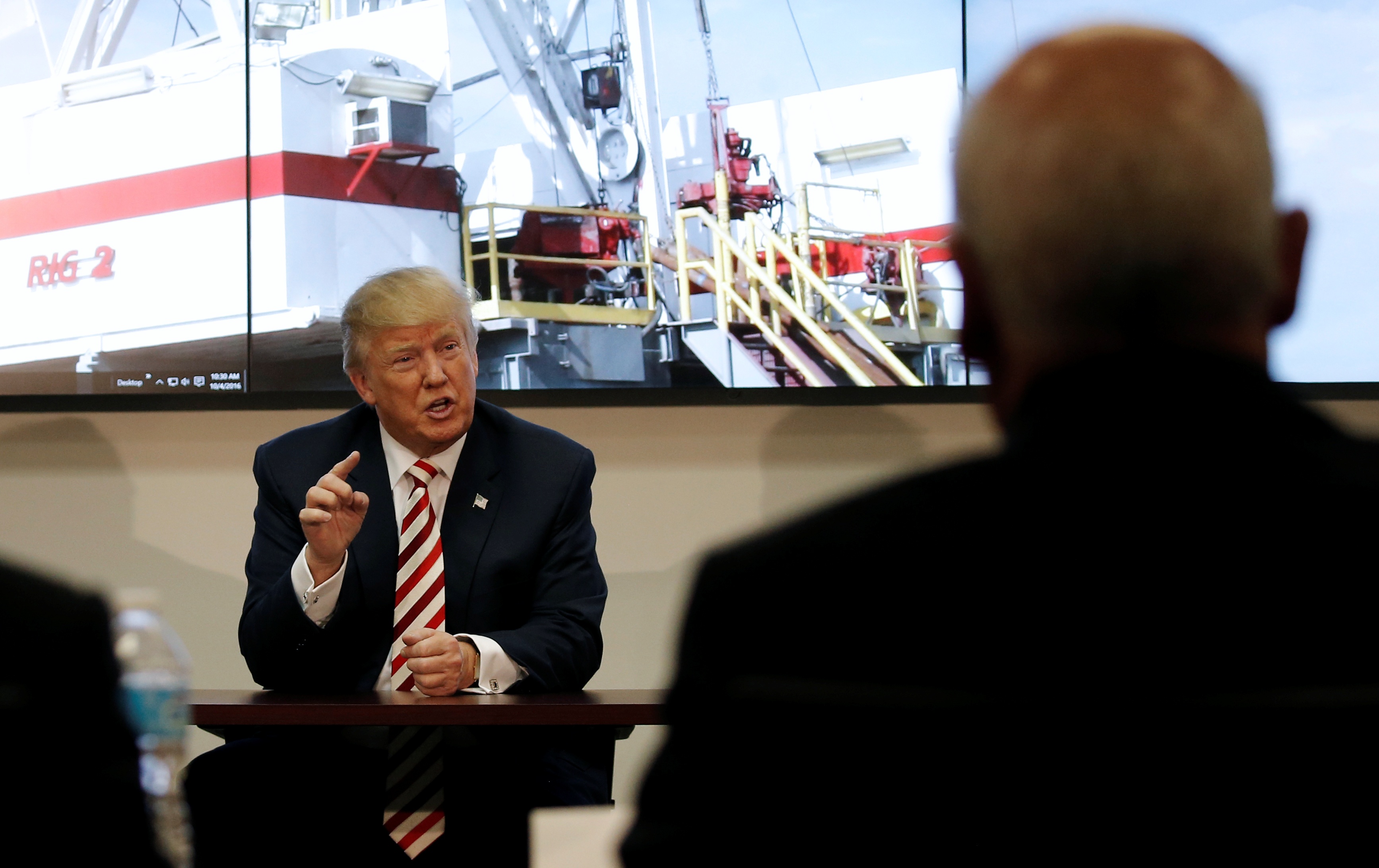 U.S. Republican presidential nominee Donald Trump meets with energy executives during a campaign stop in Denver, Colorado, Oct. 4, 2016.