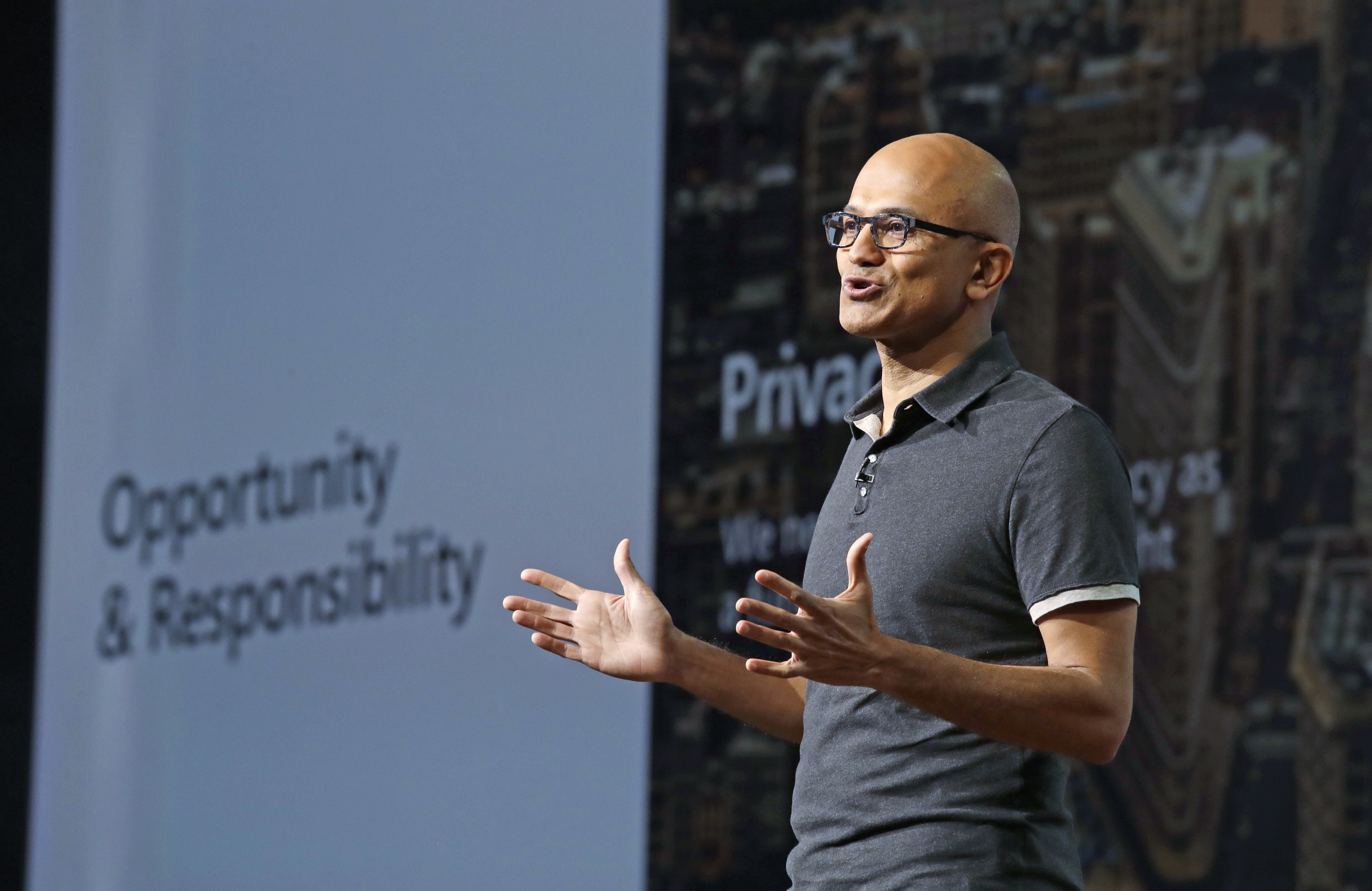 Microsoft CEO Satya Nadella delivers the keynote address at Build, the company's annual conference for software developers, May 7, 2018, in Seattle.