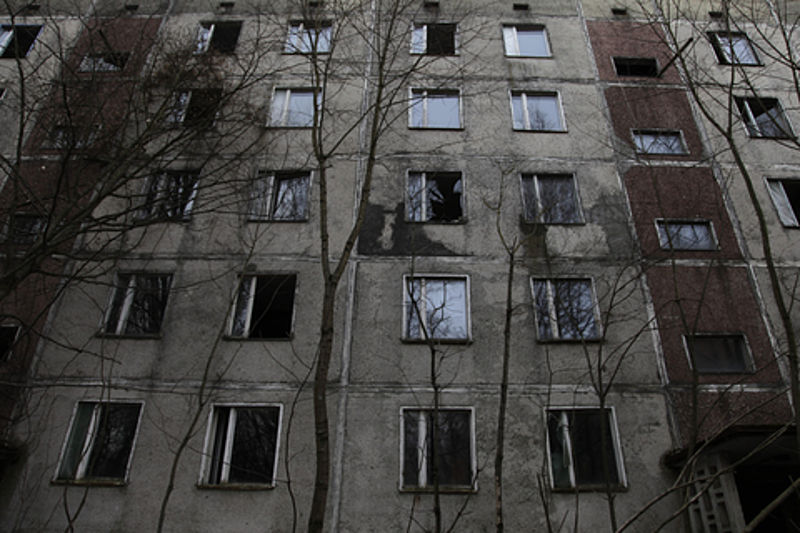 Abandoned homes in the city of Pripyat. Authorities at Chernobyl say people were evacuated and forced to abandon their homes 24 hours after the explosion. (VOA Photo/D. Markosian)