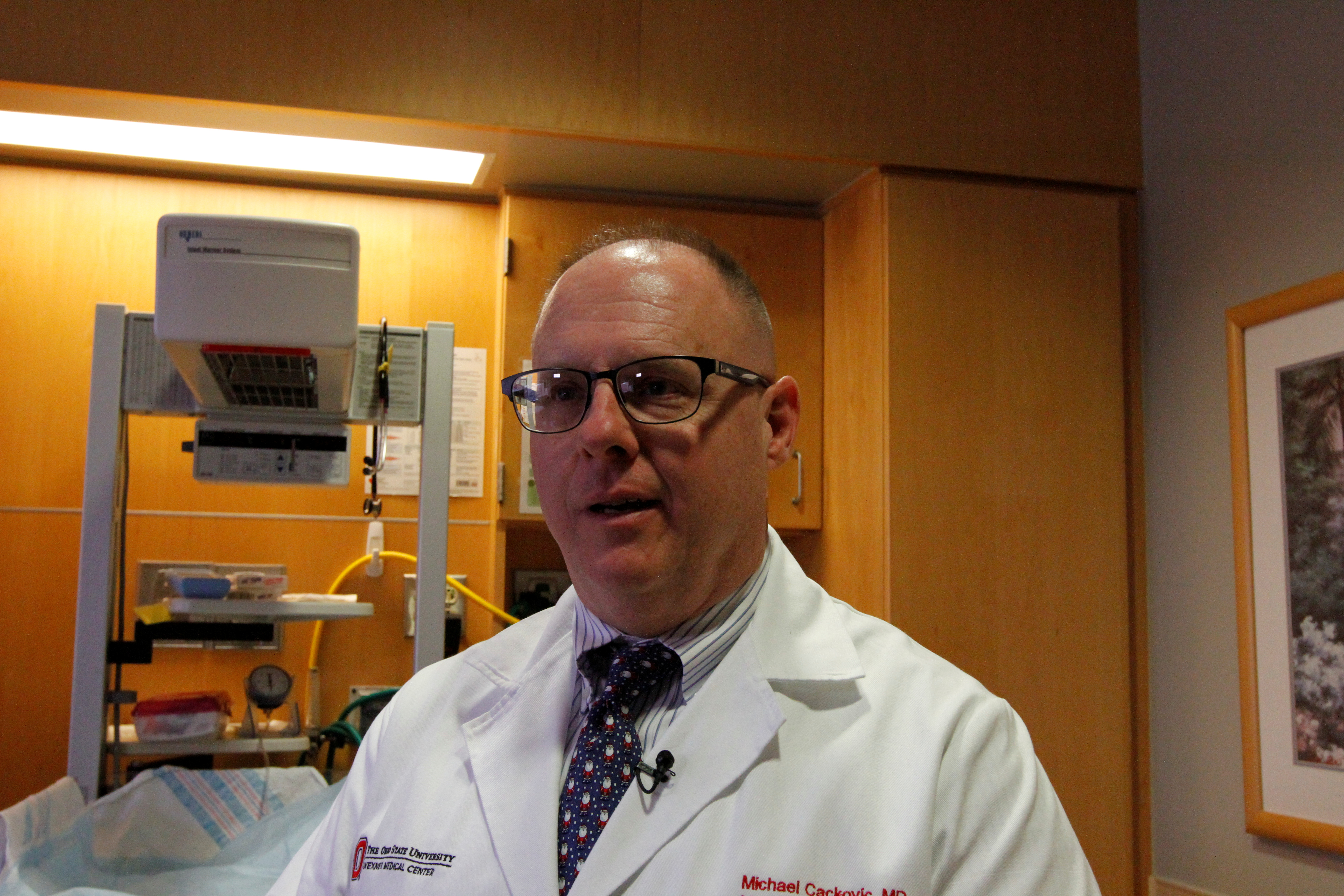 Michael Cackovic, Obstetric Director of the maternal cardiac disease in pregnancy program at the Ohio State University Wexner Medical Center, speaks to Reuters in Columbus, Ohio, December 12, 2017. Picture taken December 12, 2017.