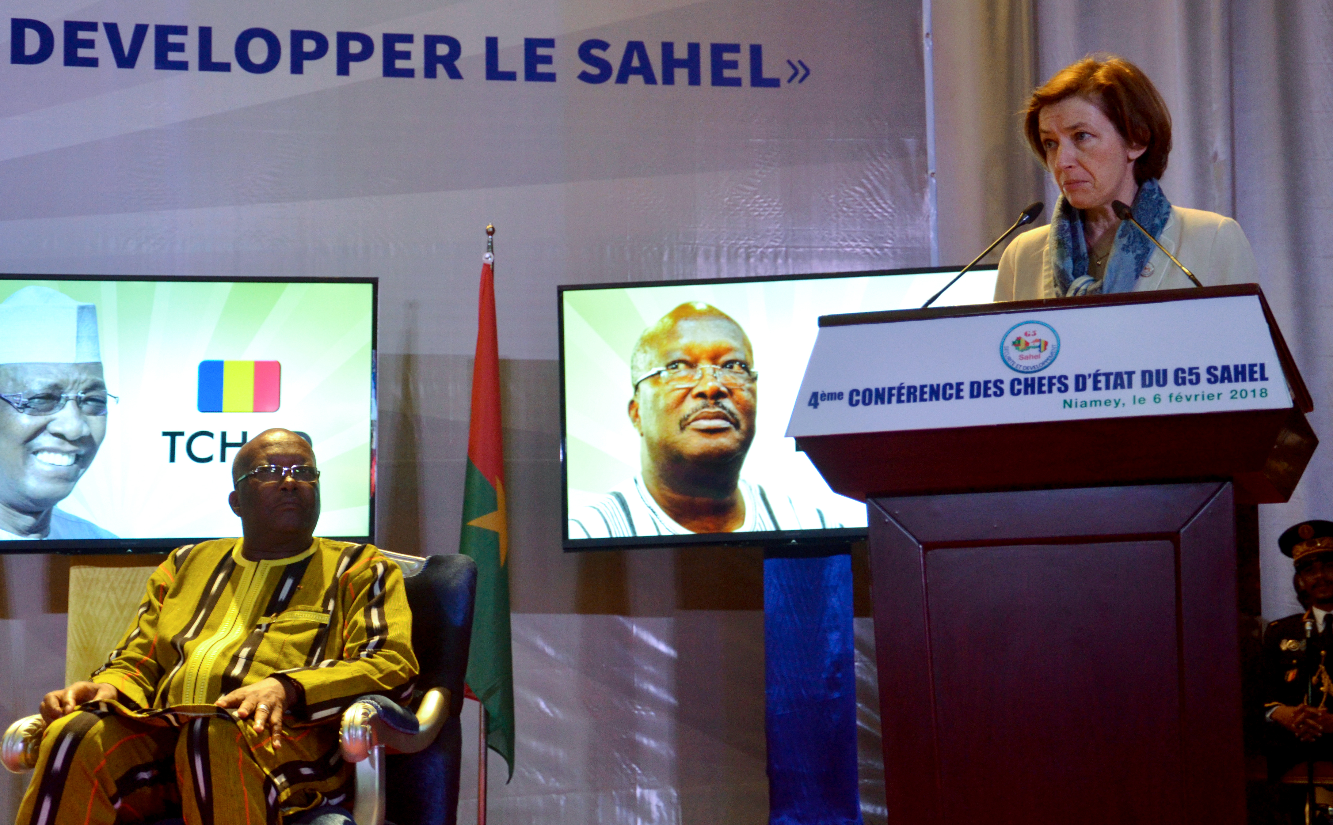 French Defense Minister Florence Parly, right,  delivers a speech next to Burkina Faso's President Roch Marc Christian Kabore, during a G5 Sahel summit in Niamey, Niger on Feb. 6, 2018.