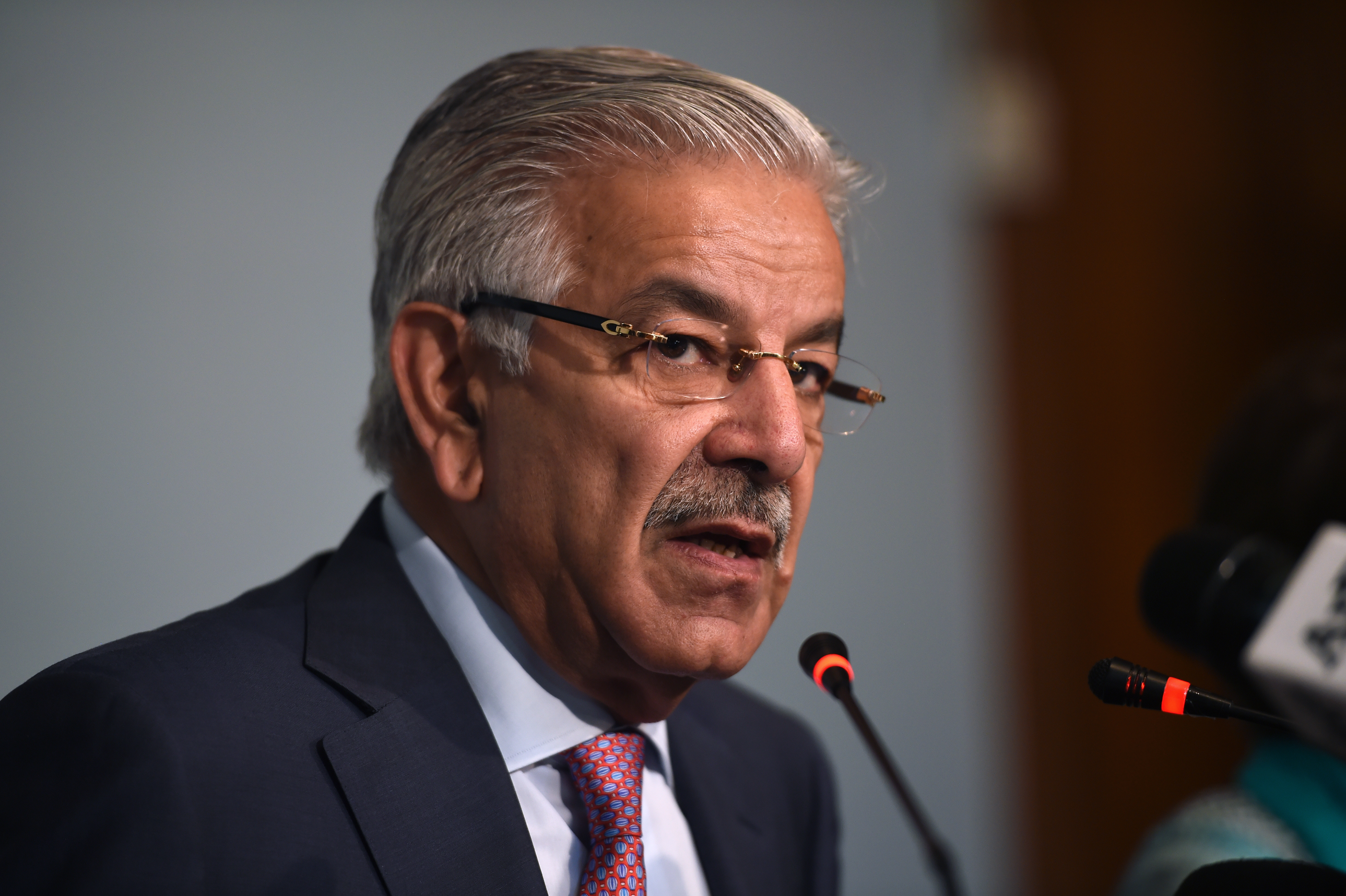 Pakistani Foreign Minister Khawaja Asif briefs the media at the end of a three-day conference in Islamabad, Pakistan, Sep. 7, 2017.