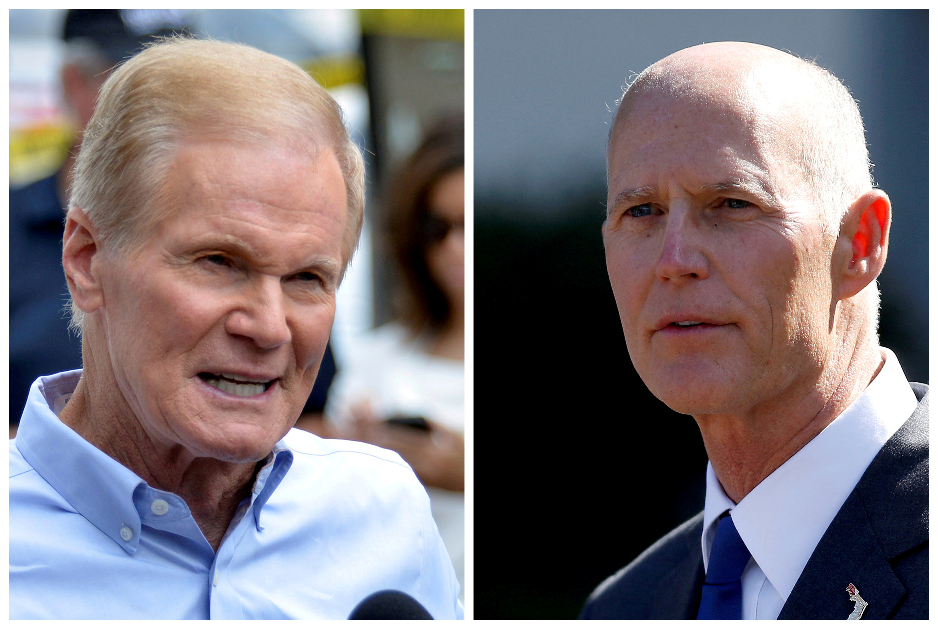 FILE - U.S. Senator Bill Nelson (L) speaks in Orlando, Florida, U.S., June 12, 2016 and Florida Governor Rick Scott appears in Washington, DC, U.S., Sept. 29, 2017 respectively.