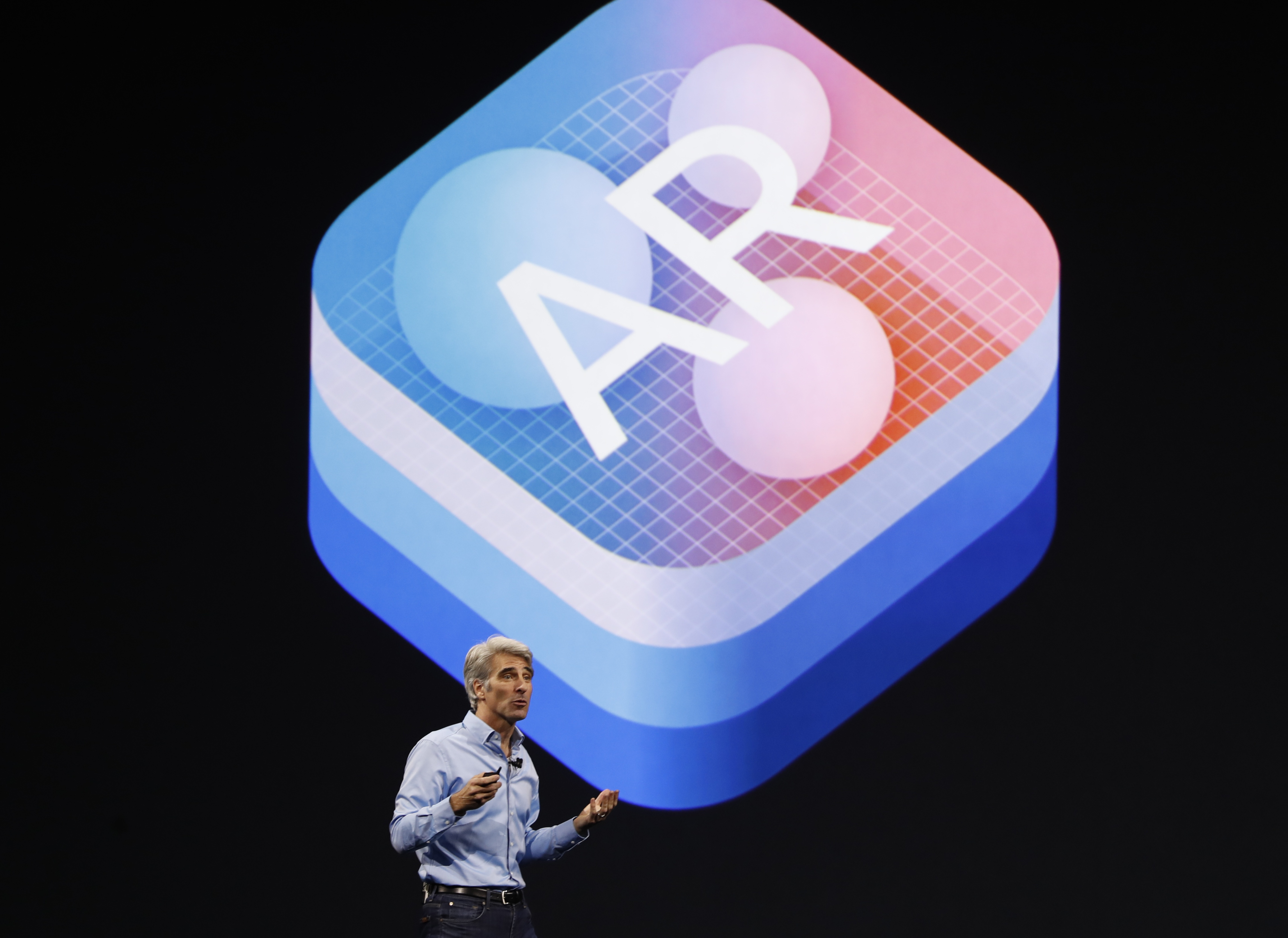 "Craig Federighi, Senior Vice President Software Engineering speaks about ""Augmented Reality"" during Apple's annual world wide developer conference (WWDC) in San Jose, California, June 5, 2017."