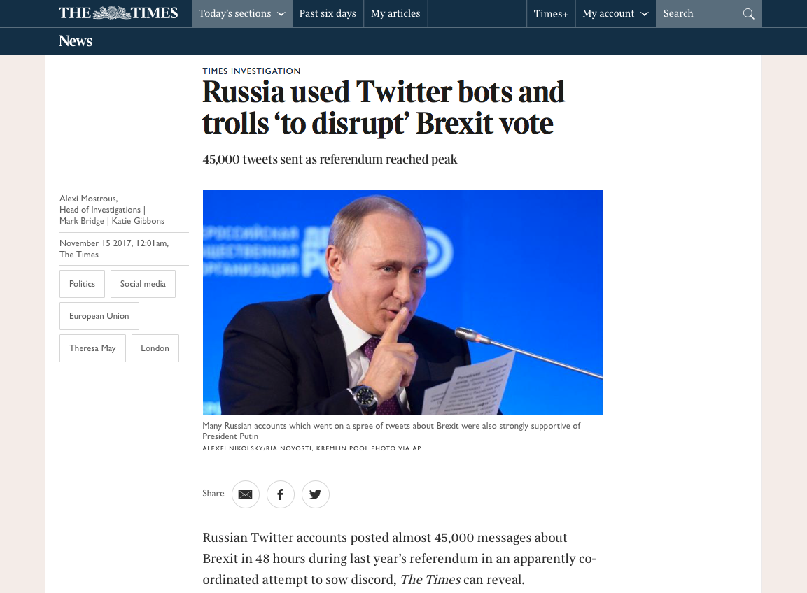 """TheTimes British newspaper article """"Russia used Twitter bots and trolls 'to disrupt' Brexit vote"""""""