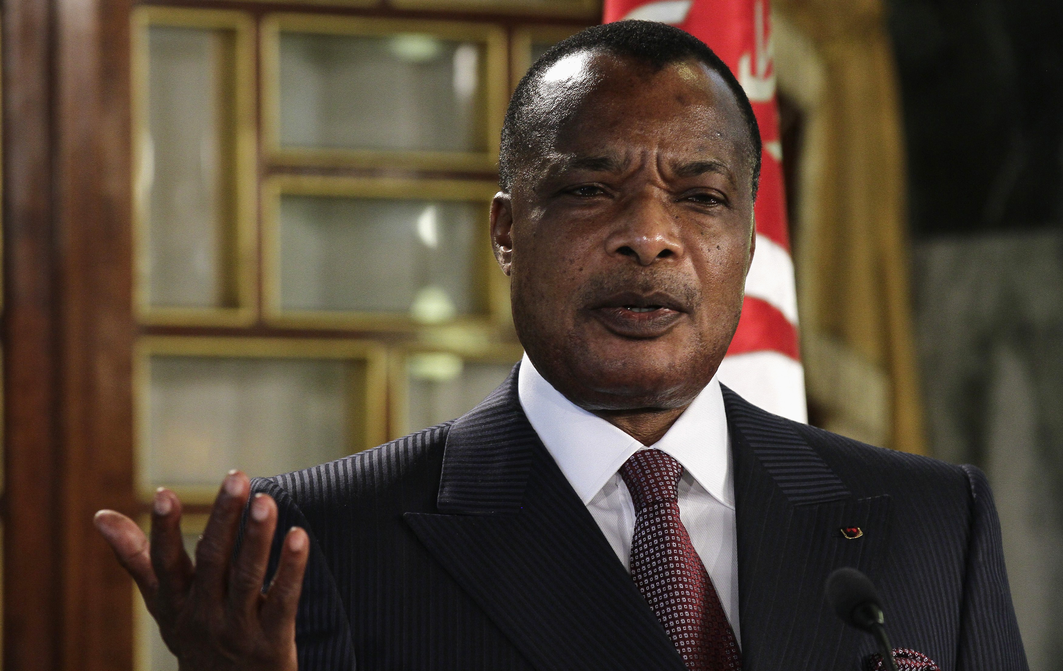 FILE - Congo's President Denis Sassou Nguesso speaks during a news conference.