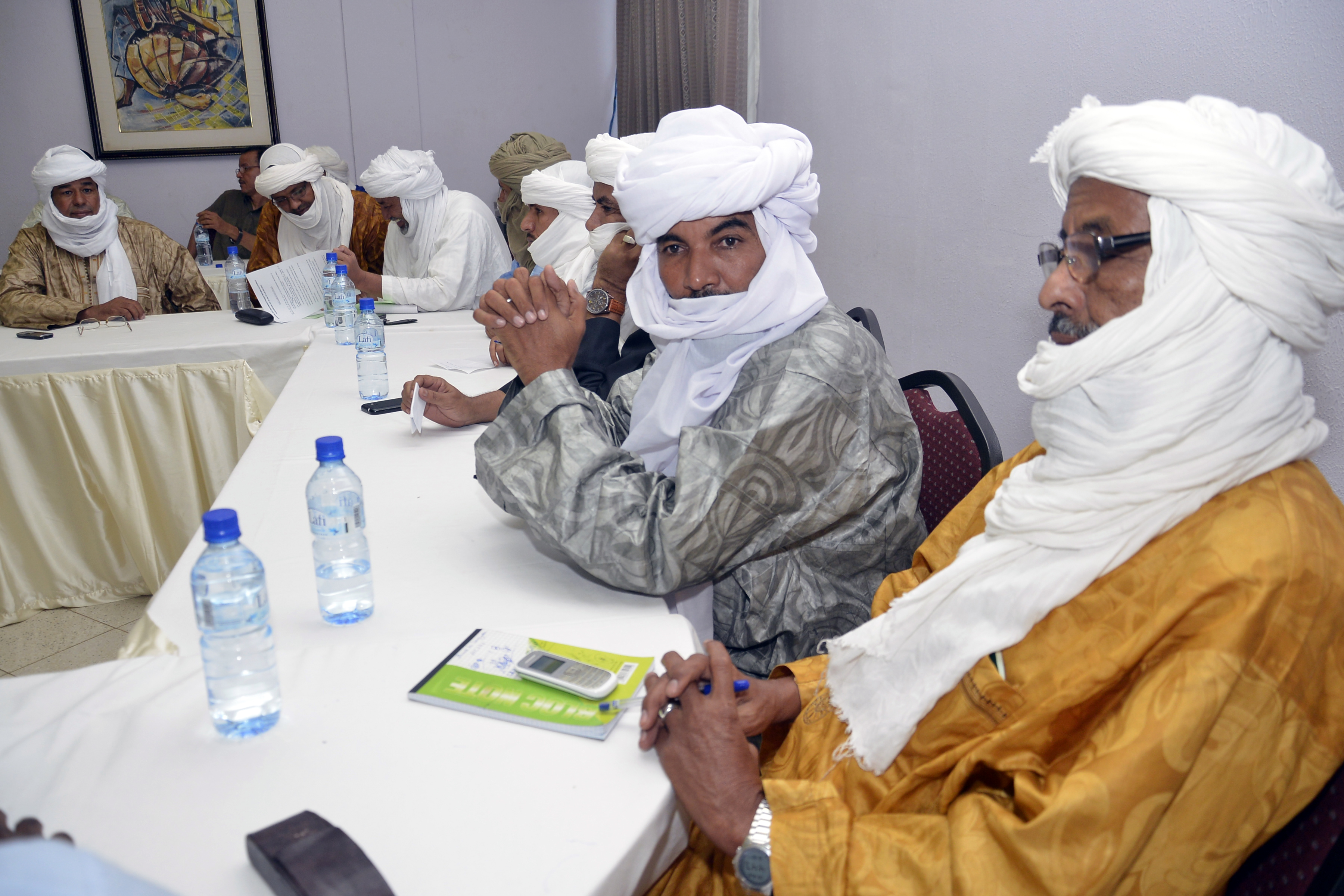Ethnic Tuareg and Arab militias from Mali meet on August 28, 2014 in Ouagadougou, Burkina Faso, to talk about a homeland in northern Mali (called Azawad) they lay claim on, ahead of peace negotiations with the government.