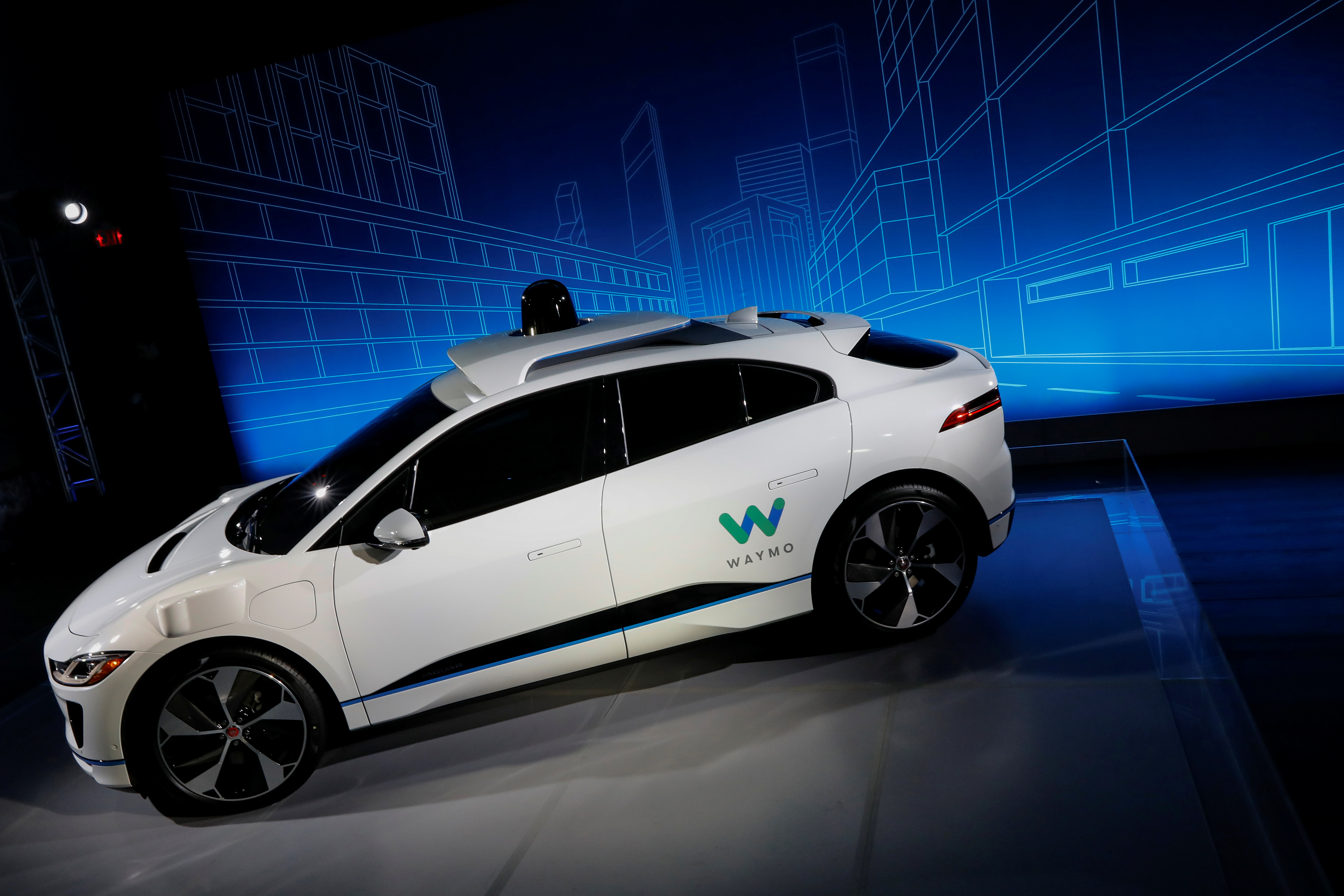 A Jaguar I-PACE self-driving car is pictured during its unveiling by Waymo in the Manhattan borough of New York City, March 27, 2018.