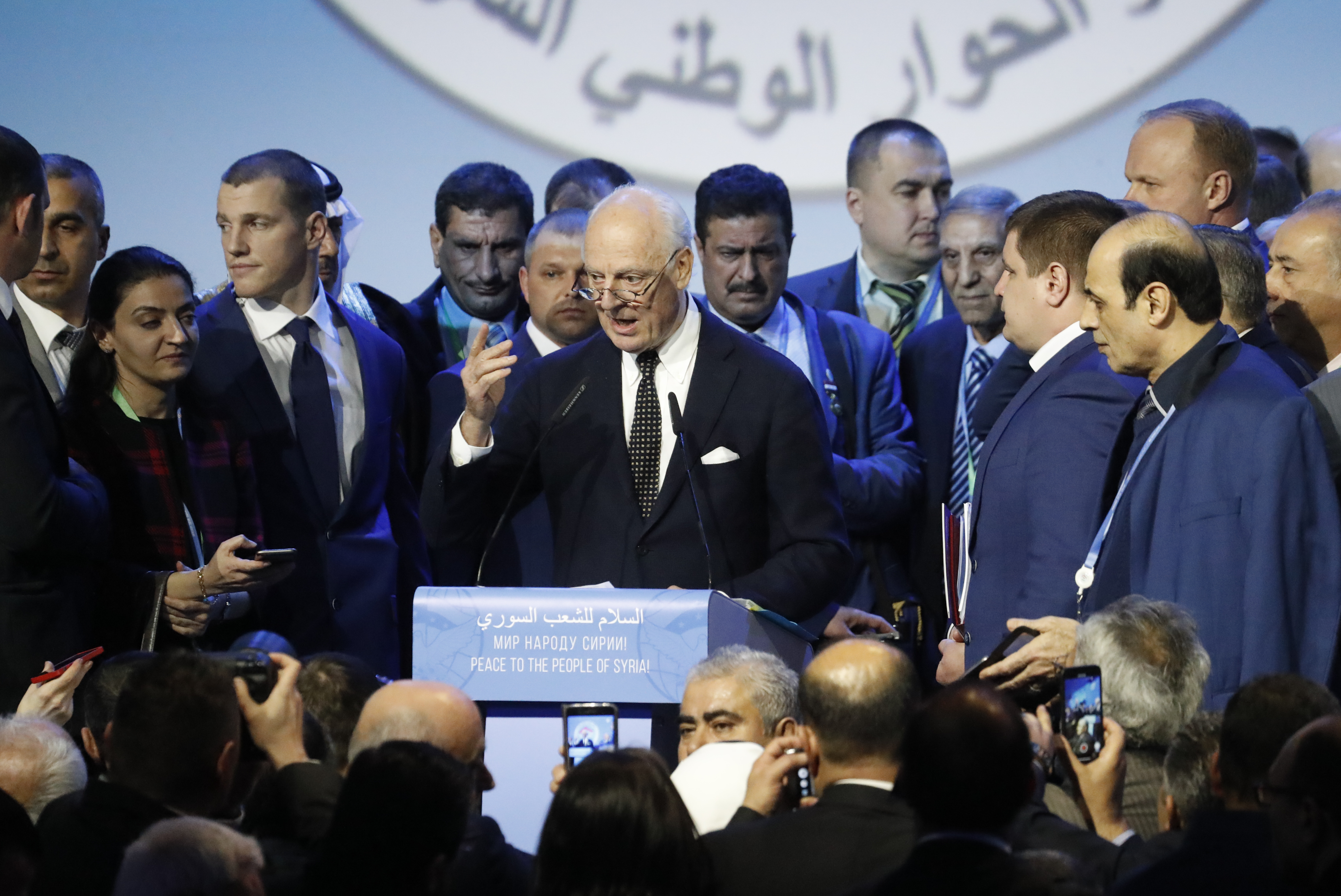 United Nations Special Envoy for Syria Staffan de Mistura speaks to attendees after a session of the Syrian Congress of National Dialogue in the Black Sea resort of Sochi, Russia, Jan. 30, 2018.
