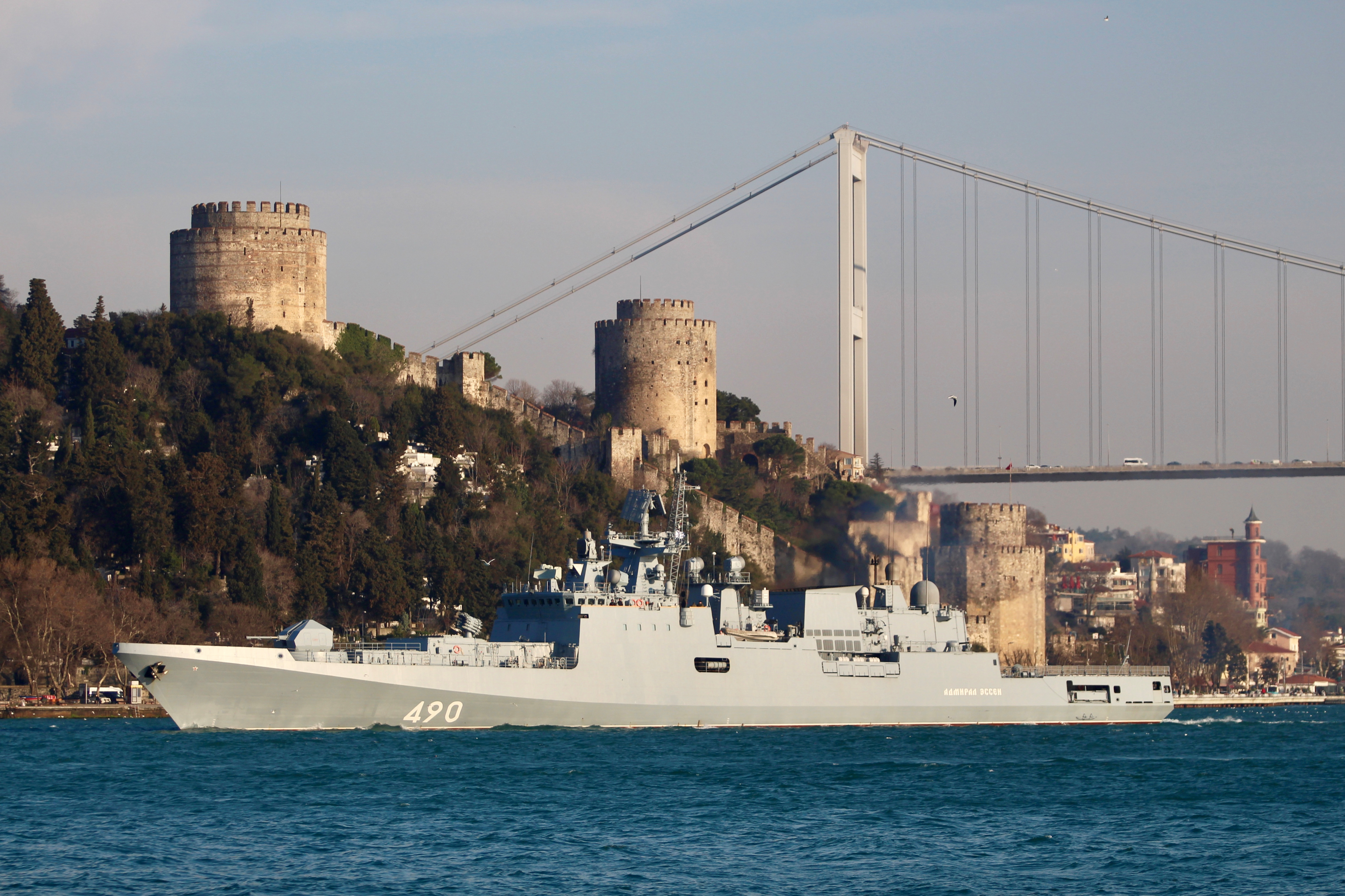 The Russian Navy's frigate Admiral Essen sets sail in the Bosphorus, on its way to the Mediterranean Sea, in Istanbul, Turkey March 1, 2019.