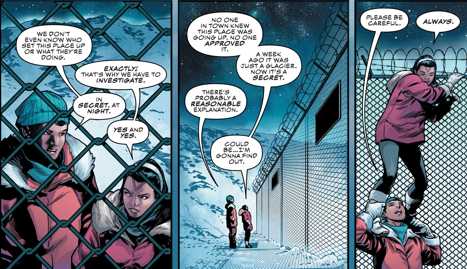 Detail from Marvel Comics Champions #19, introducing a new Inuit superhero, Amka Aliyak, a.k.a., Snowguard. Line art by Sean Izaakse. Colors by Marcio Menyz. Champions and all related content copyright © Marvel Comics.
