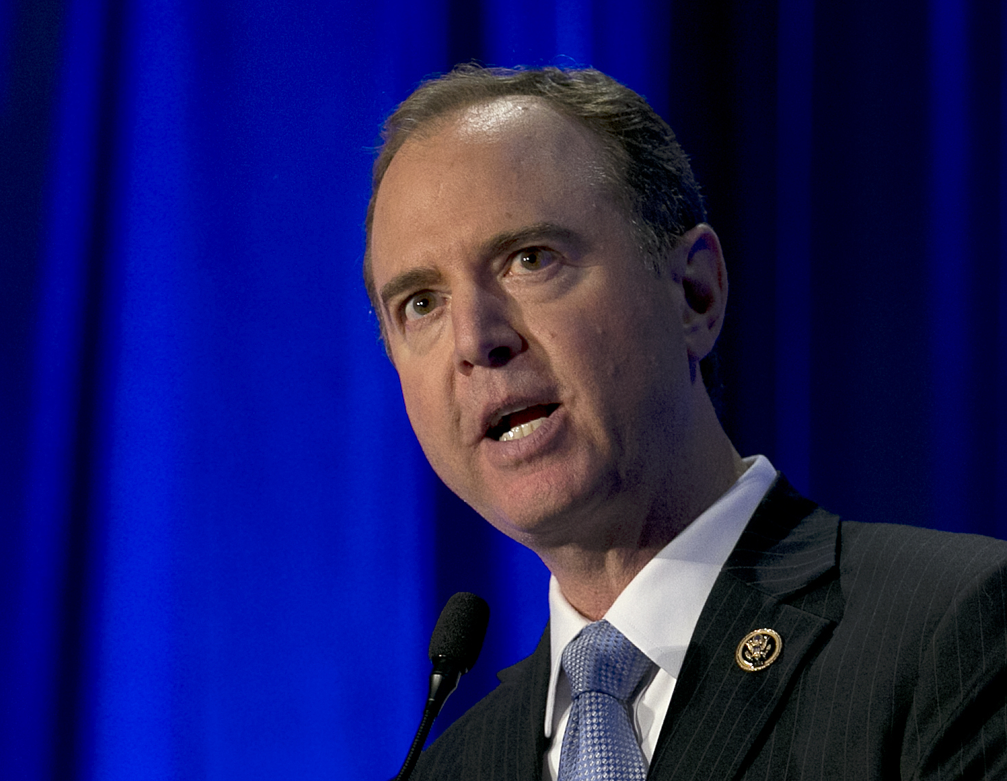 U.S. Rep. Adam Schiff, the ranking Democrat on the House Intelligence Committee addresses the California Democratic Party convention, May 20, 2017, in Sacramento.