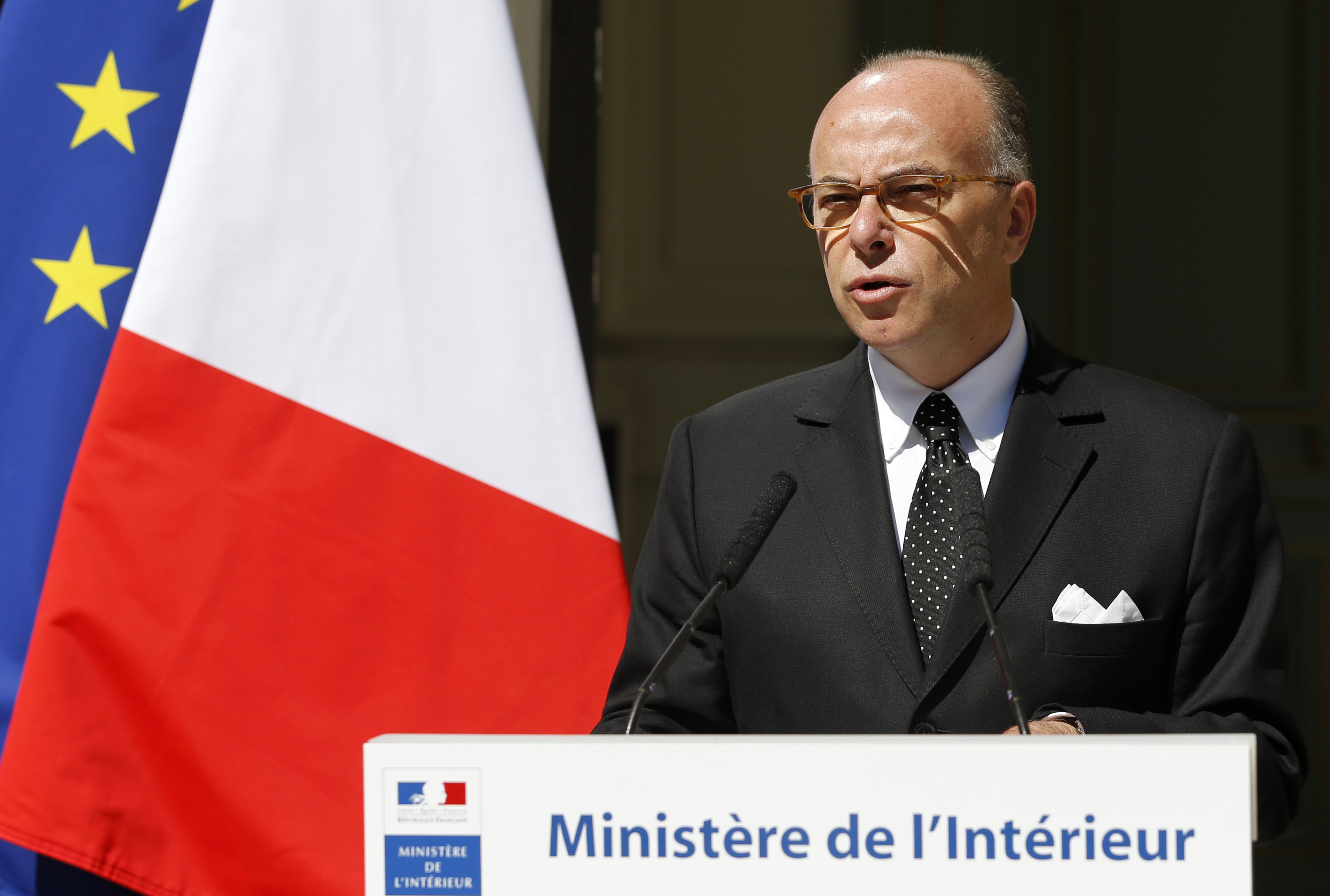 French Interior Minister Bernard Cazeneuve attends a news conference at the Interior ministry in Paris, France, Aug. 22, 2015.