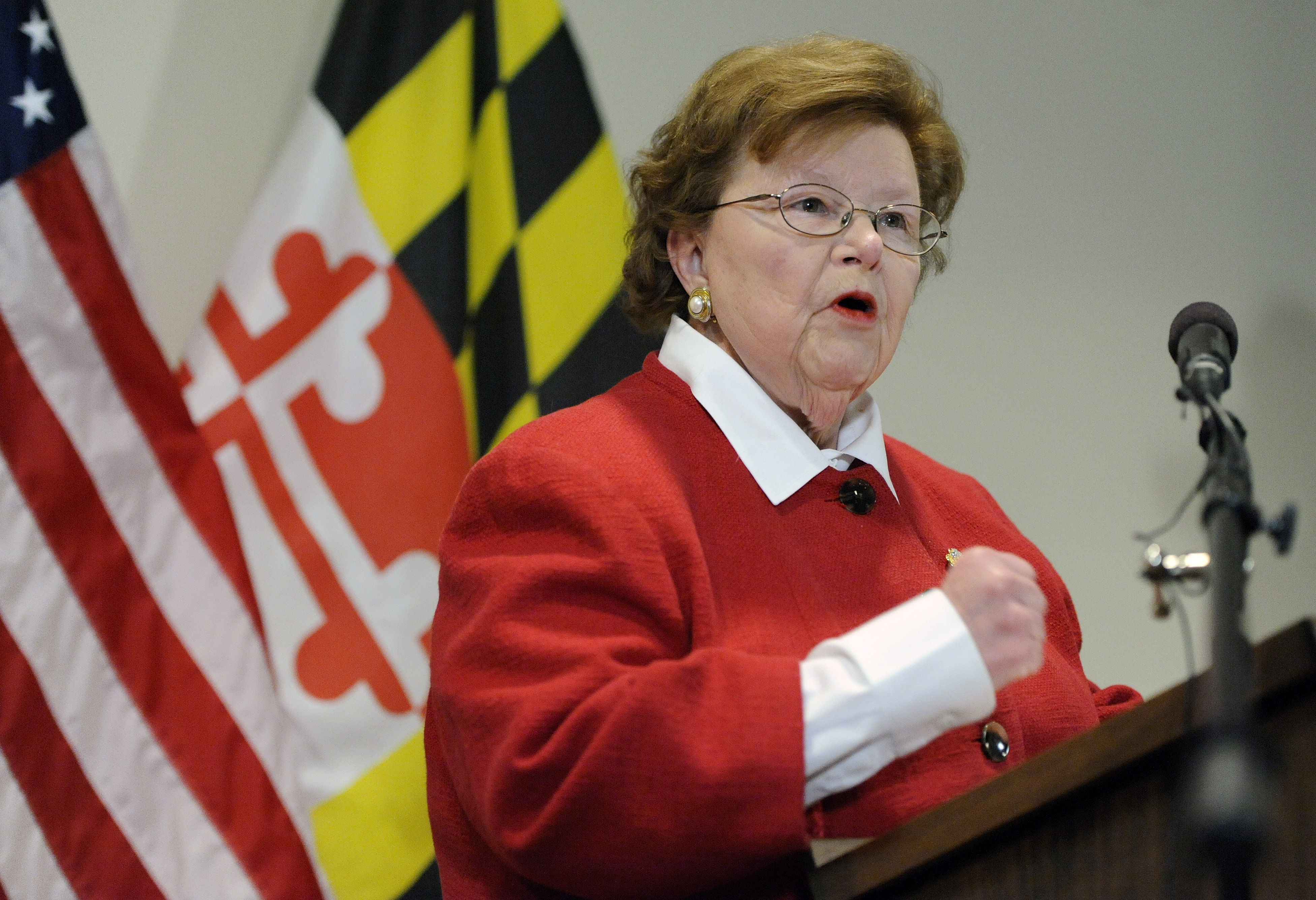 FILE - Sen. Barbara Mikulski, D-Md., the longest-serving woman in the history of Congress, speaks during a news conference in Baltimore, March 2, 2015.