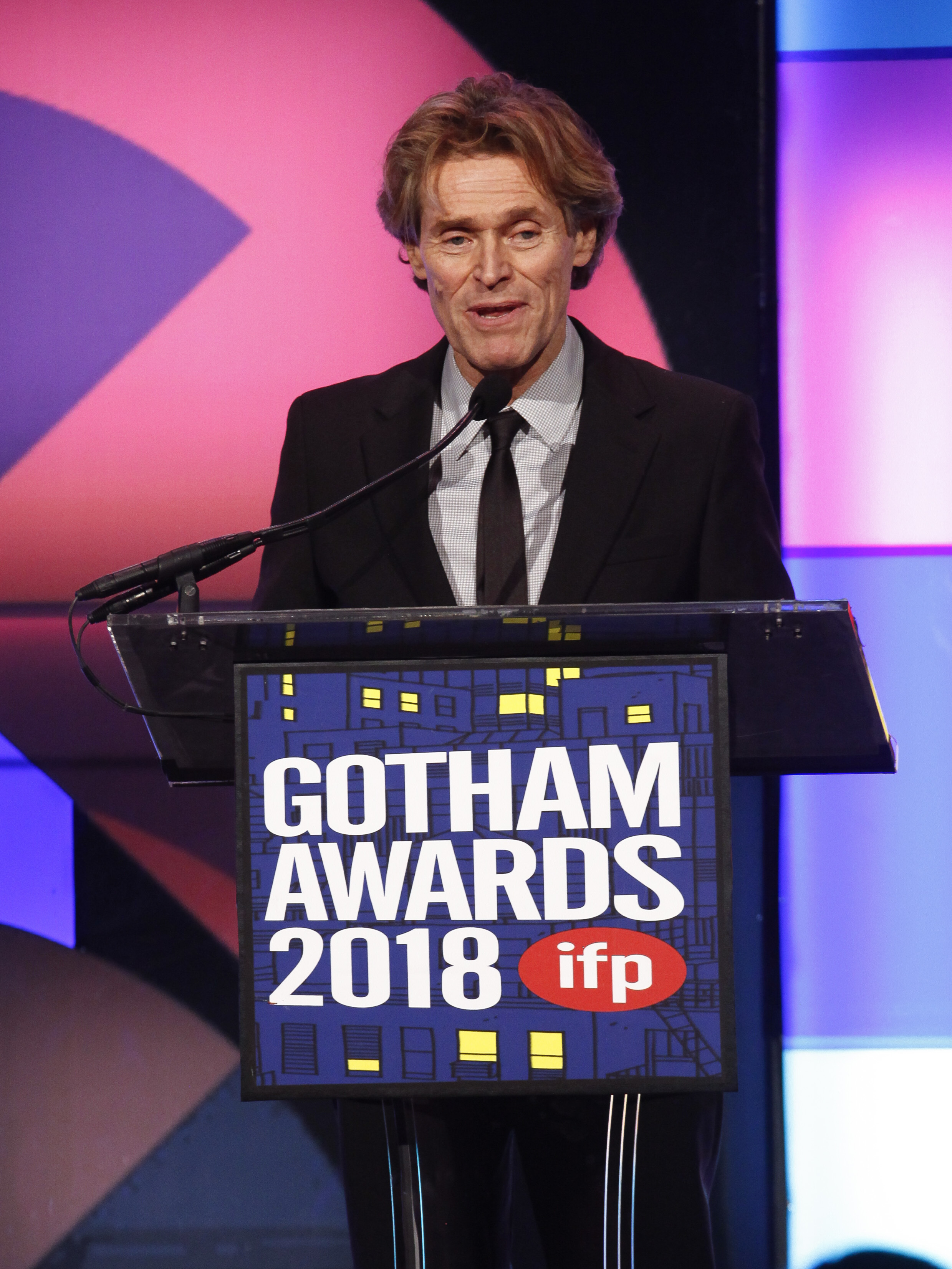 Actor Willem Dafoe accepts a tribute award at the 28th annual Independent Filmmaker Project's Gotham Awards at Cipriani Wall Street on Nov. 26, 2018, in New York.