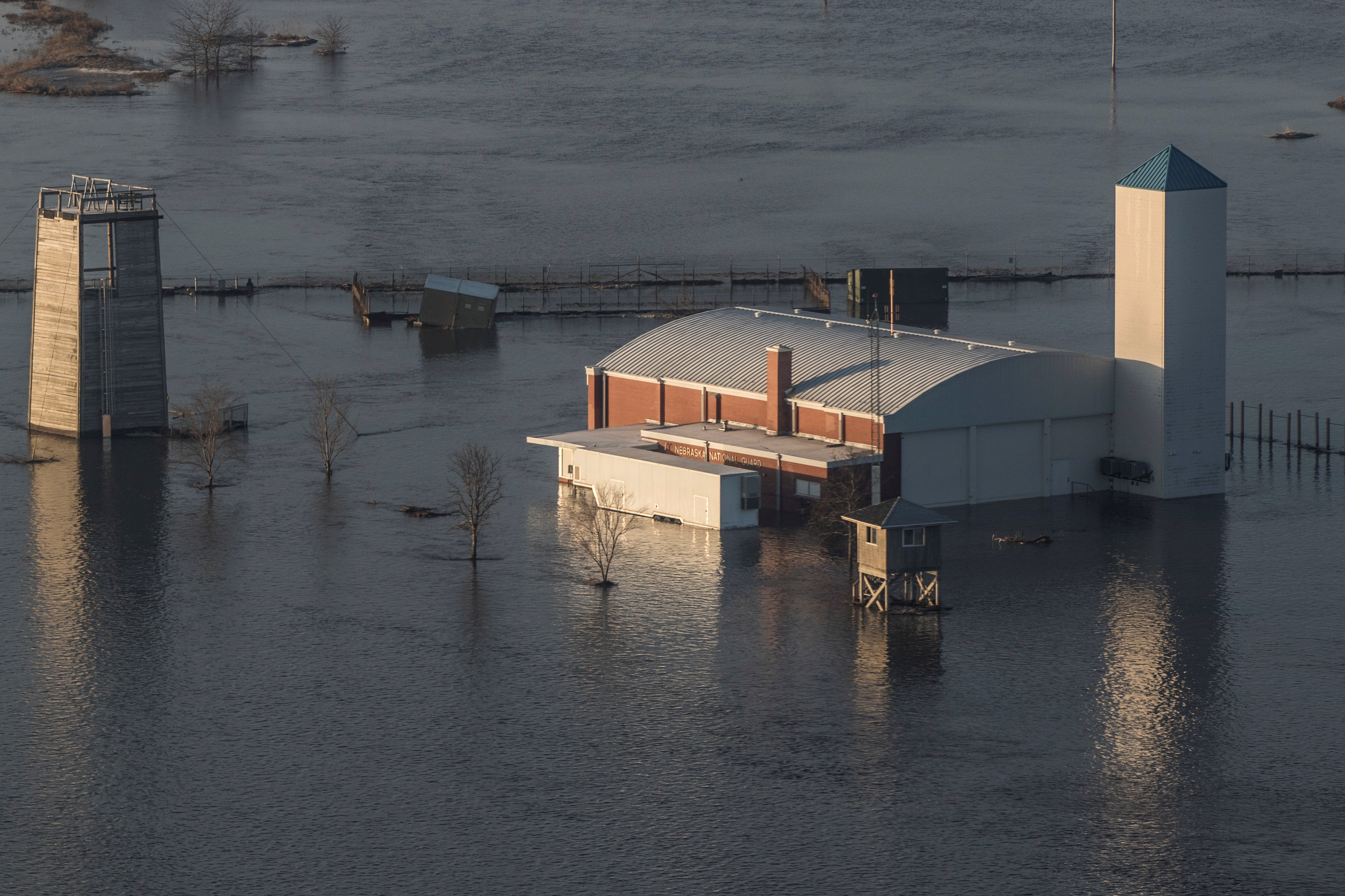Flooded Camp Ashland Army National Guard facility is seen in this aerial photo taken in Ashland, Nebraska, U.S., March 17, 2019.
