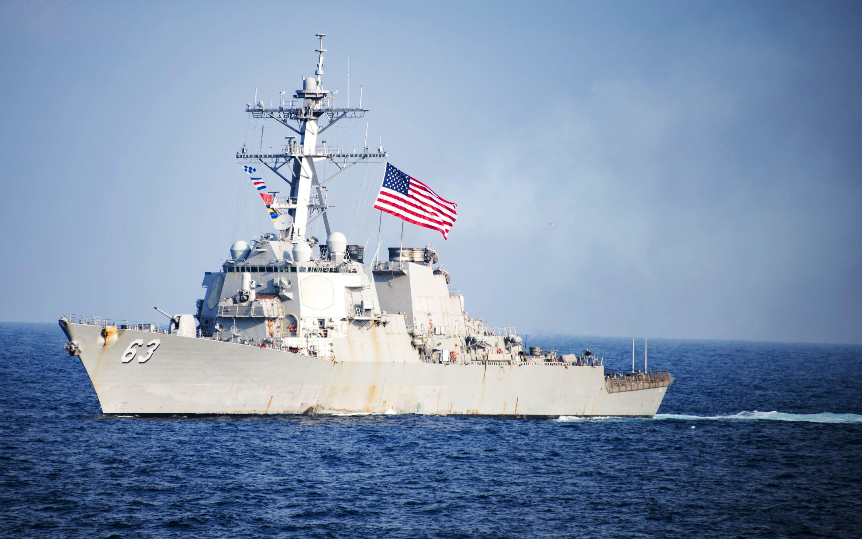 FILE - U.S. Navy destroyer USS Stethem transits waters east of the Korean Peninsula during a photo exercise including the U.S. Navy and South Korean Navy during the Operation Foal Eagle.