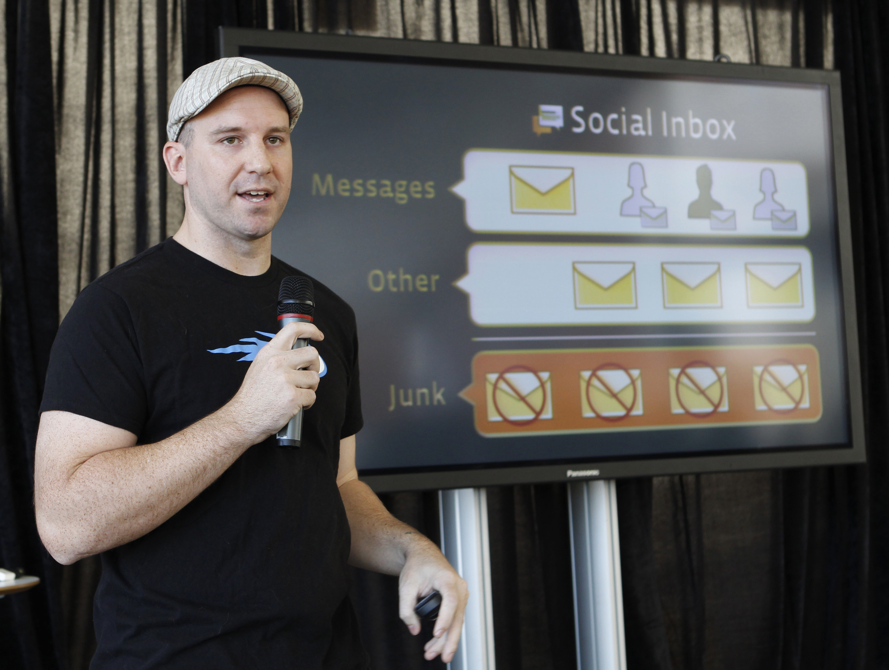 FILE - Andrew Bosworth, then a Facebook engineer, talks about the new Facebook messaging service at an announcement in San Francisco, Nov. 15, 2010. Now a Facebook vice president, he said in an internal memo in 2016 that the social mediacompany nee...