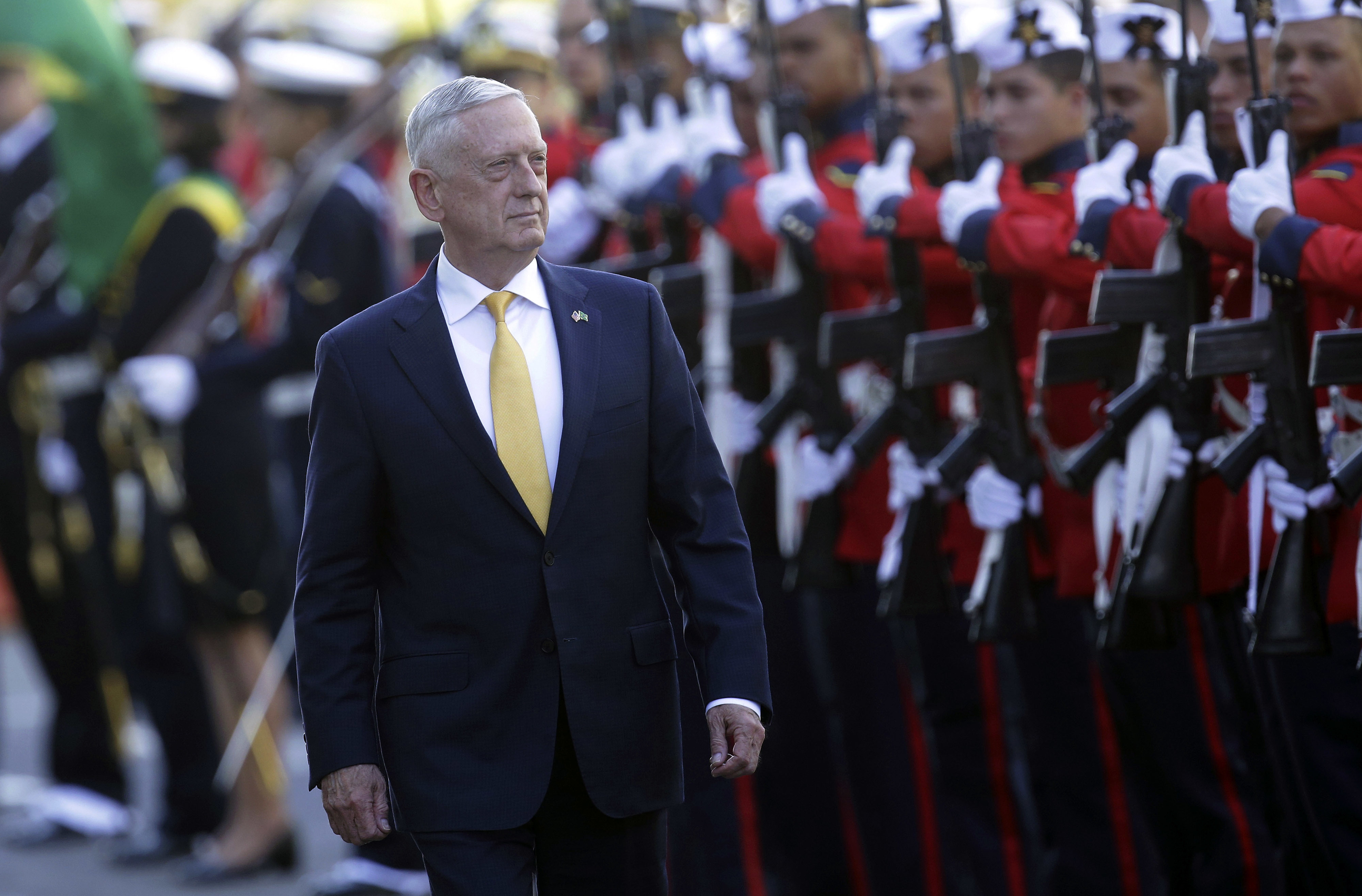 U.S. Secretary of Defense Jim Mattis receives military honors before his meeting with Brazil's defense minister, in Brasilia, Brazil, Aug. 13, 2018. Mattis has spent six days visiting South American countries, including Brazil, Argentina, Chile and C...