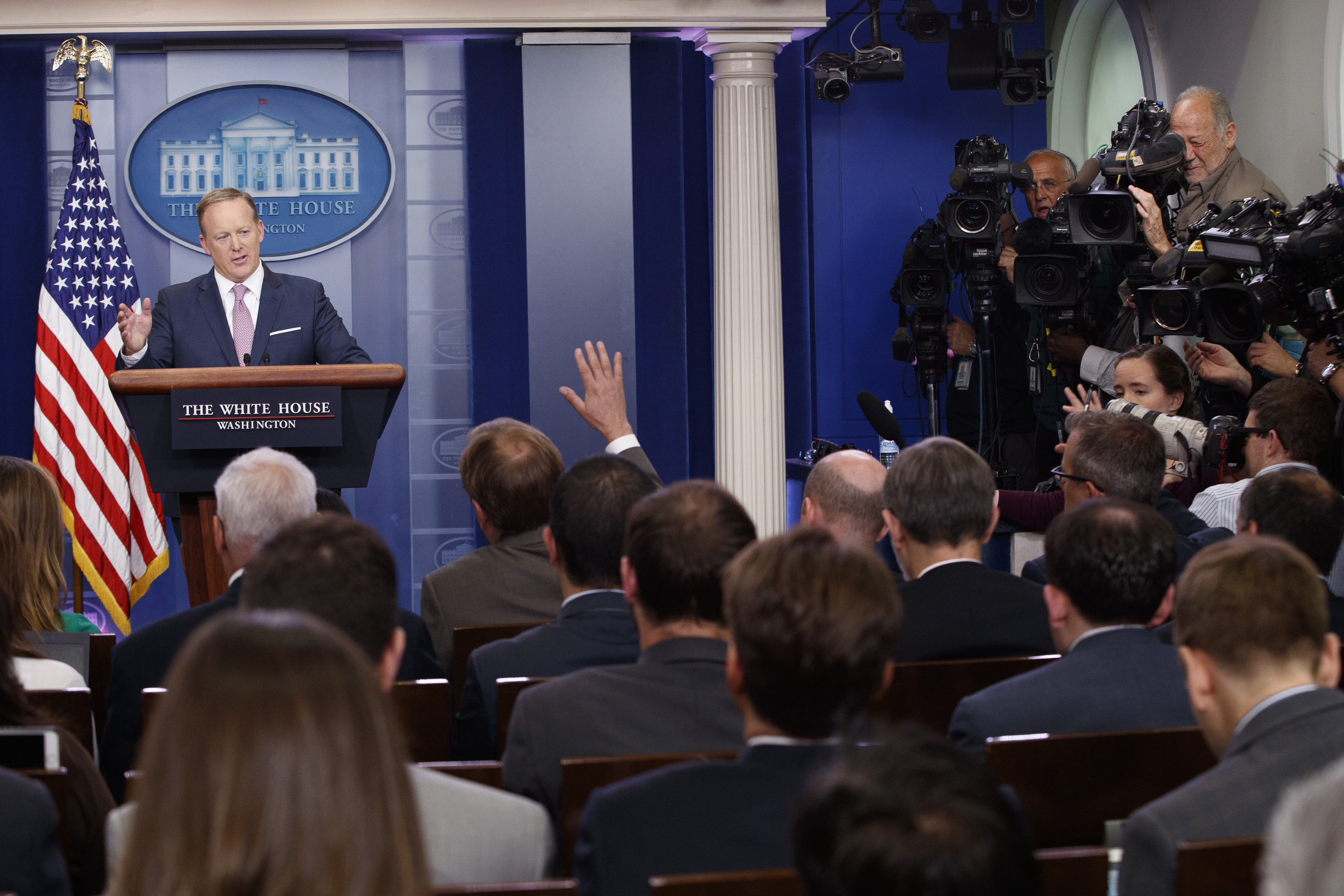 White House press secretary Sean Spicer speaks during the daily press briefing at the White House in Washington, May 12, 2017.