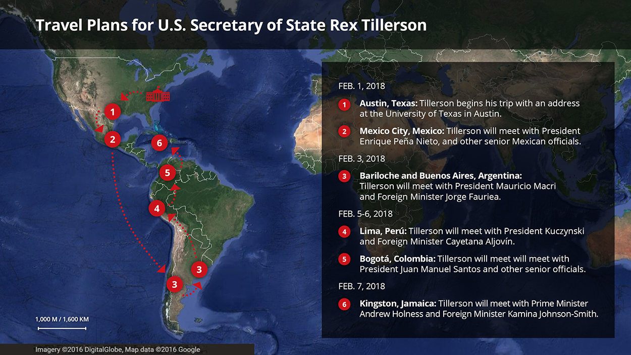 U.S. Secretary of State Rex Tillerson is on a six-day trip to Latin and South America.