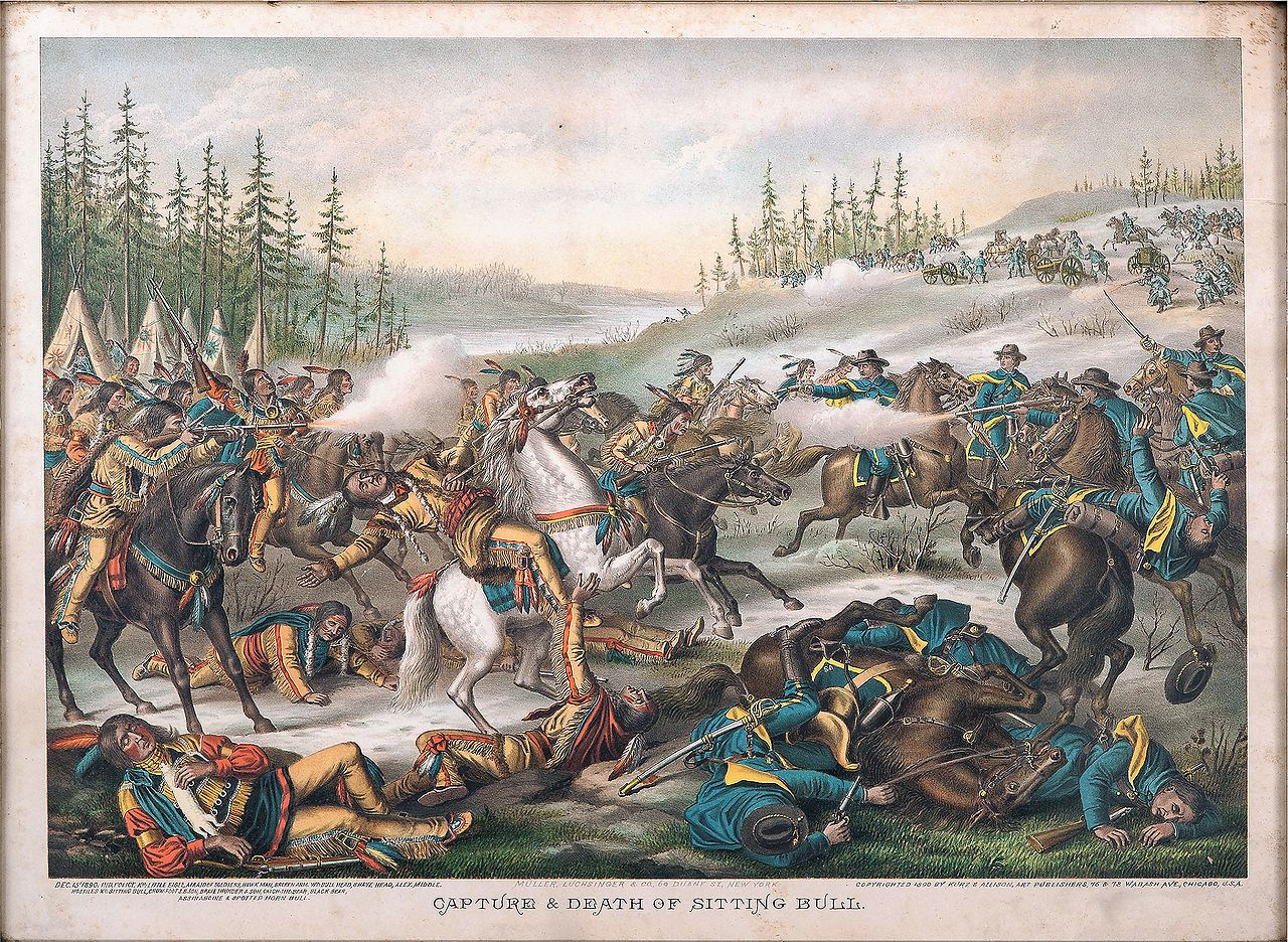 The death of Sitting Bull, as imagined by Chicago lithographers Louis Kurz and Alexander Allison, 1890.