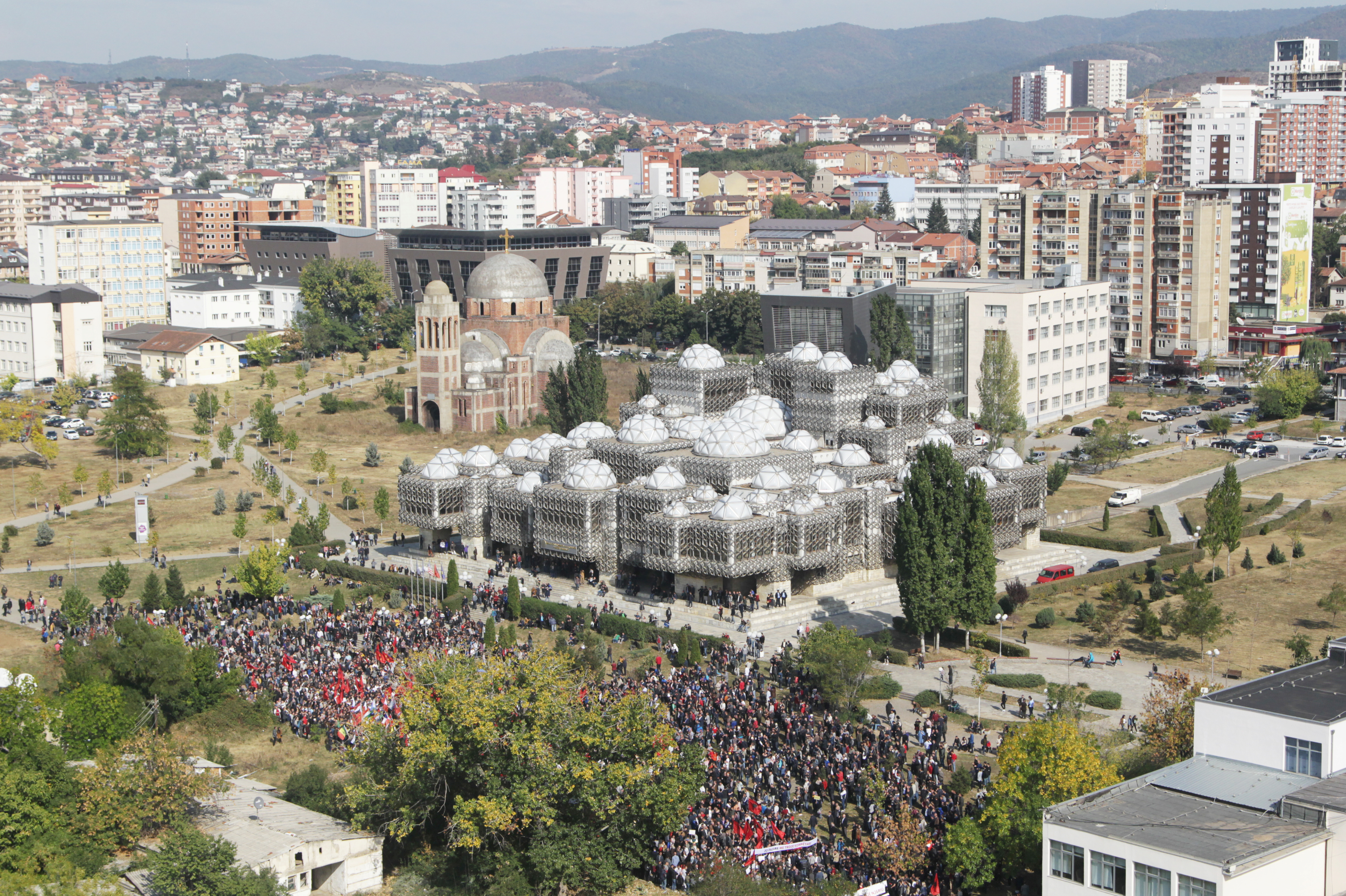 People protest against Kosovo President Hashim Thaci's border change proposal deal with Serbia in Pristina, Kosovo, Sept. 29, 2018.