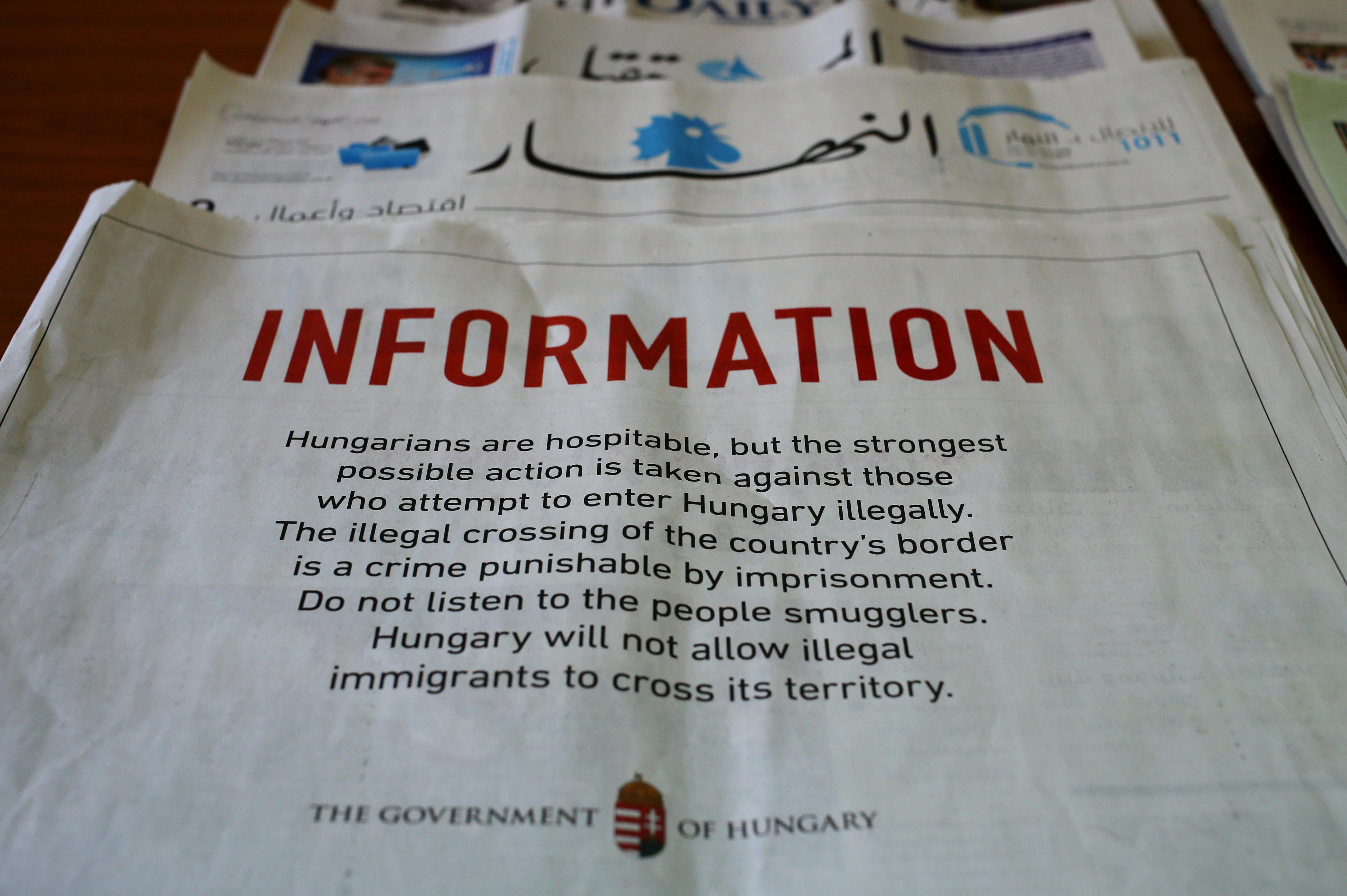 A full-page advertisement by the Hungarian government that was published in Lebanese newspapers, warning migrants not to enter the country illegally saying it is a crime punishable by imprisonment, in Beirut, Lebanon, Sept. 21, 2015.
