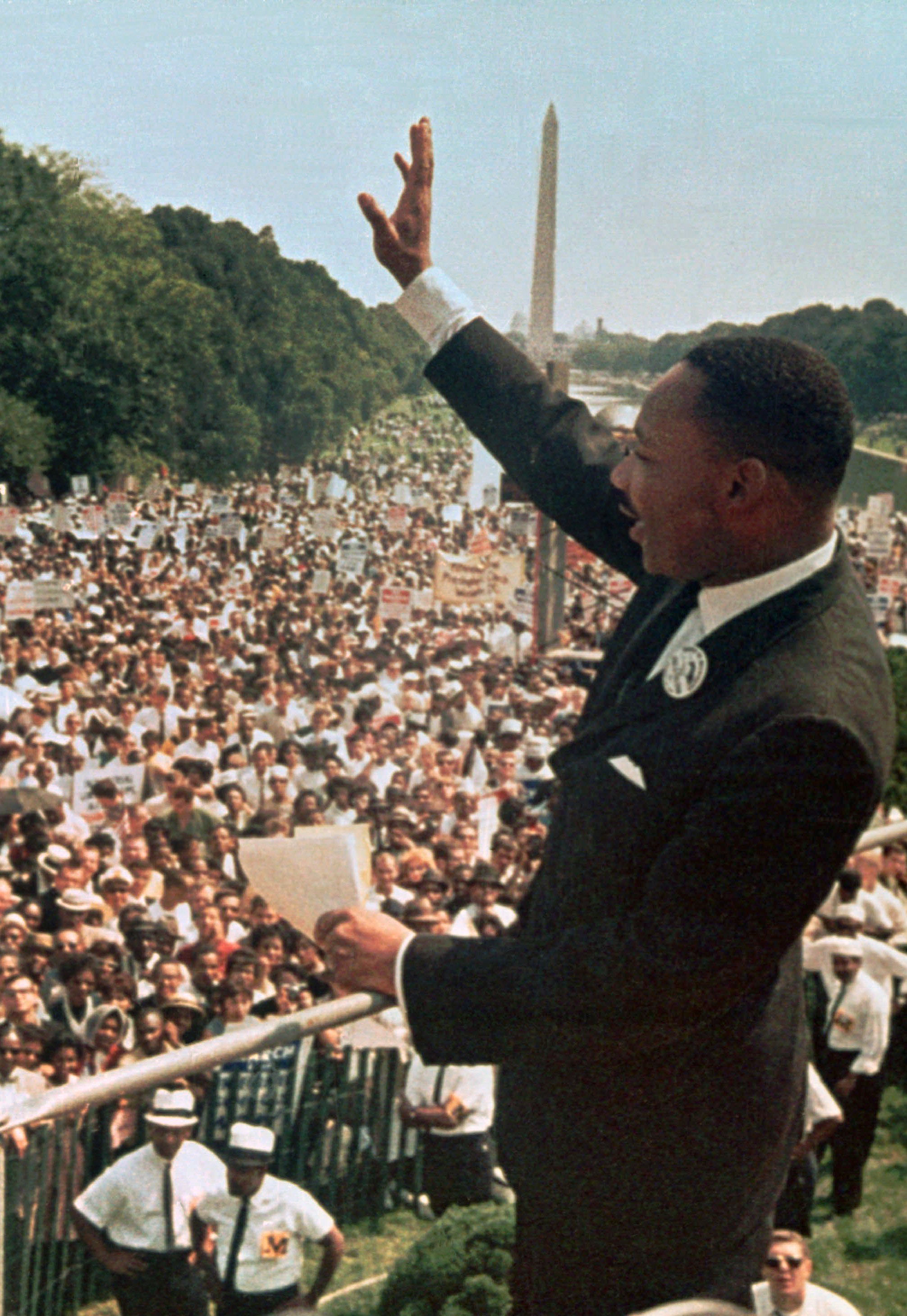 """FILE - Dr. Martin Luther King Jr. acknowledged the crowd at the Lincoln Memorial for his """"I Have a Dream"""" speech during the March on Washington, Aug. 28, 1963."""