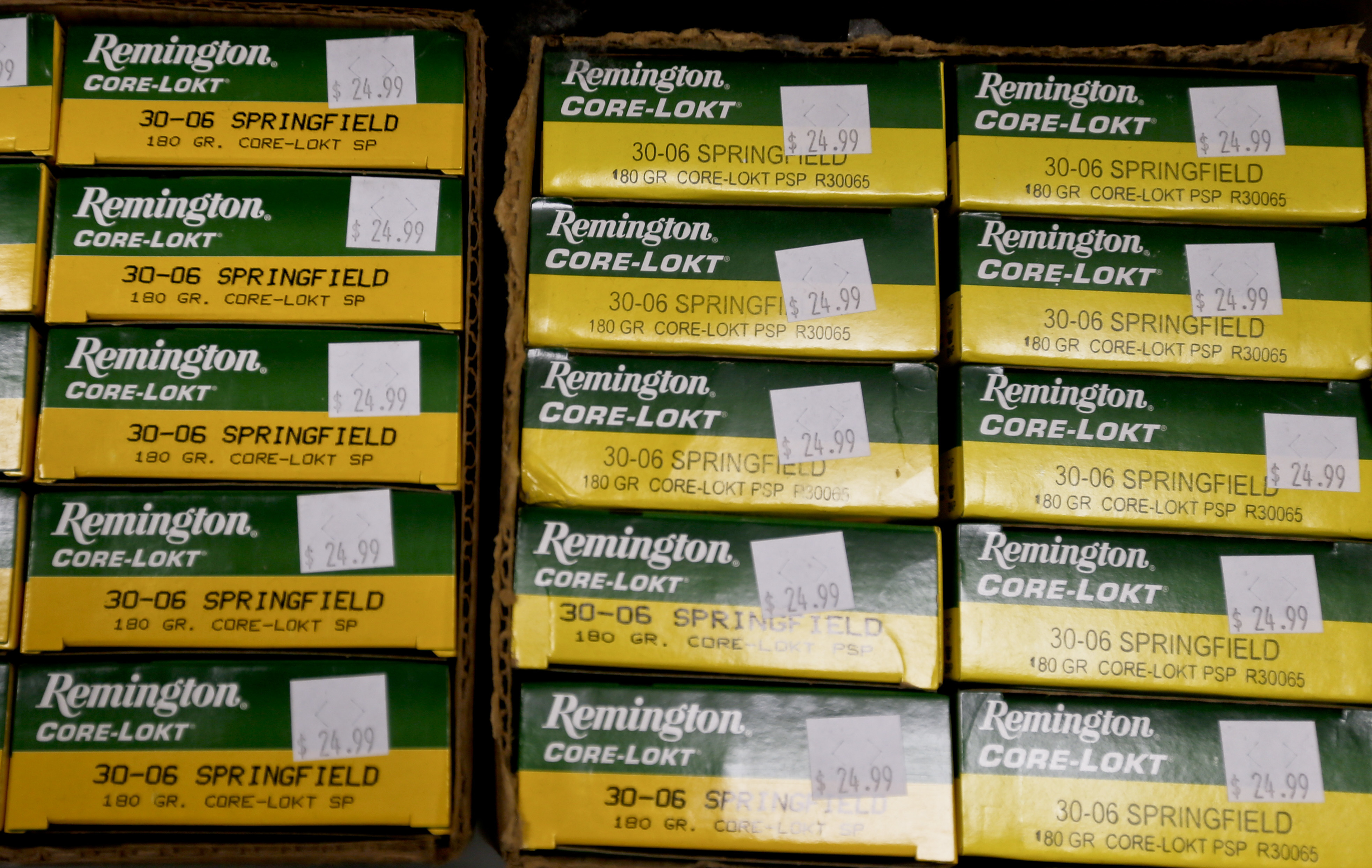 In this Thursday, March 1, 2018, photo Remington rifle ammunition is shown at Duke's Sport Shop in New Castle, Pa.