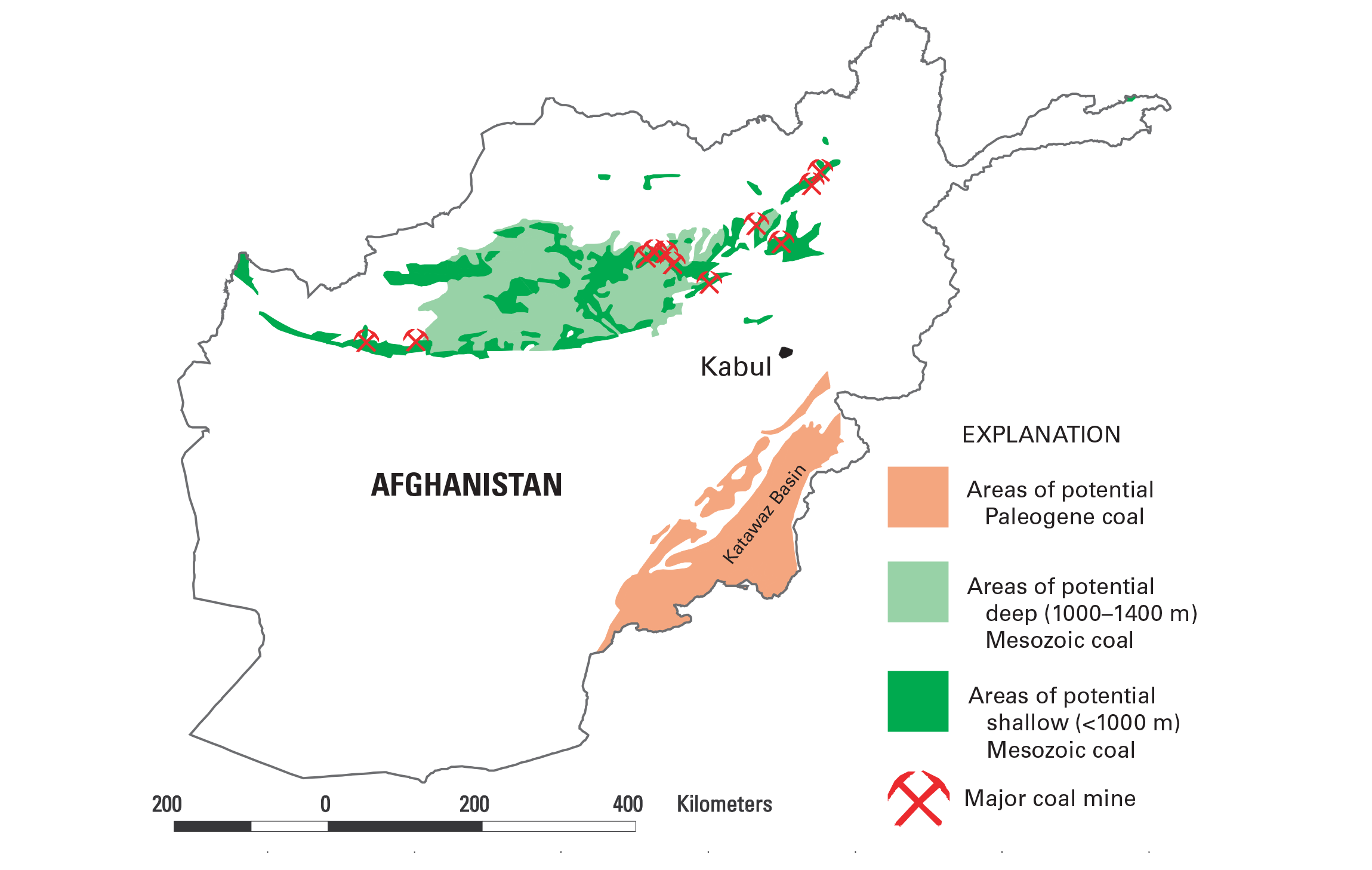Map: Location of coal deposits and coal mines in Afghanistan