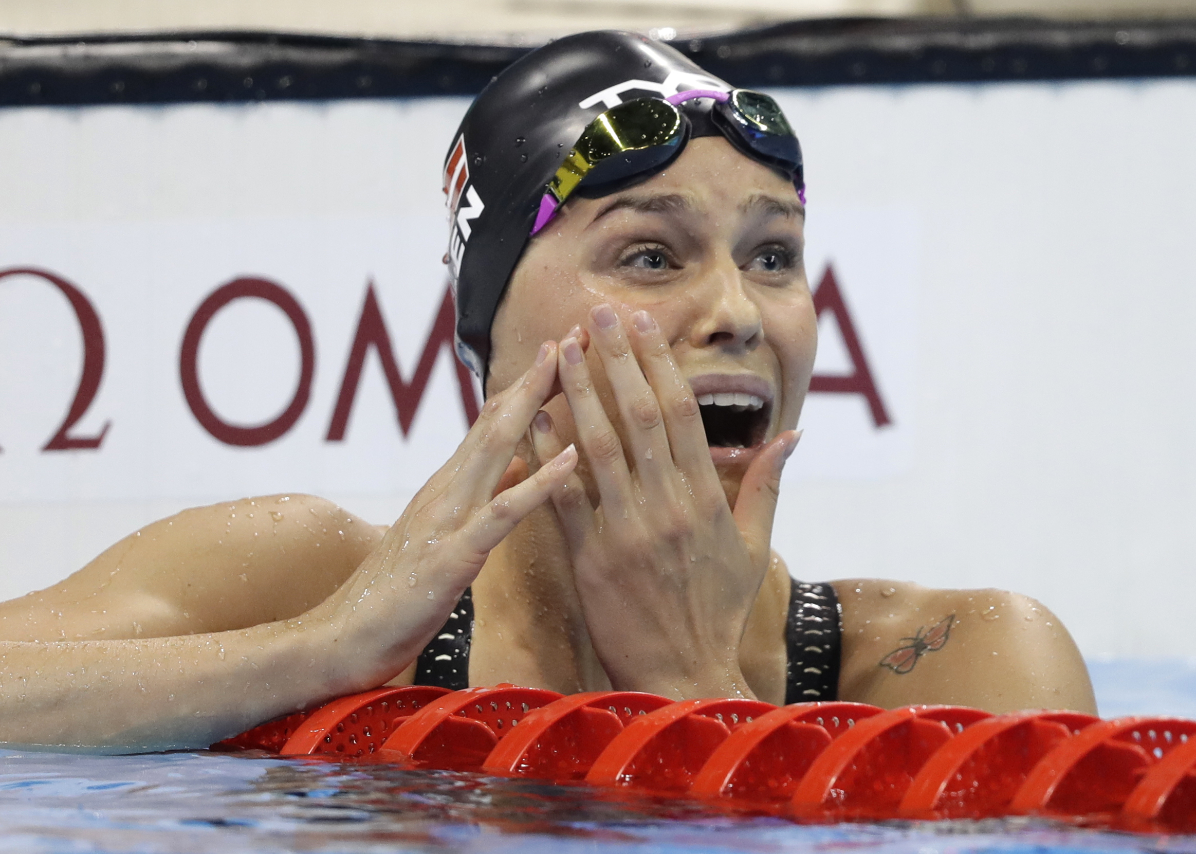 Denmark's Pernille Blume reacts after winning the women's 50-meter freestyle final during the swimming competitions at the 2016 Summer Olympics, Aug. 13, 2016, in Rio de Janeiro, Brazil.